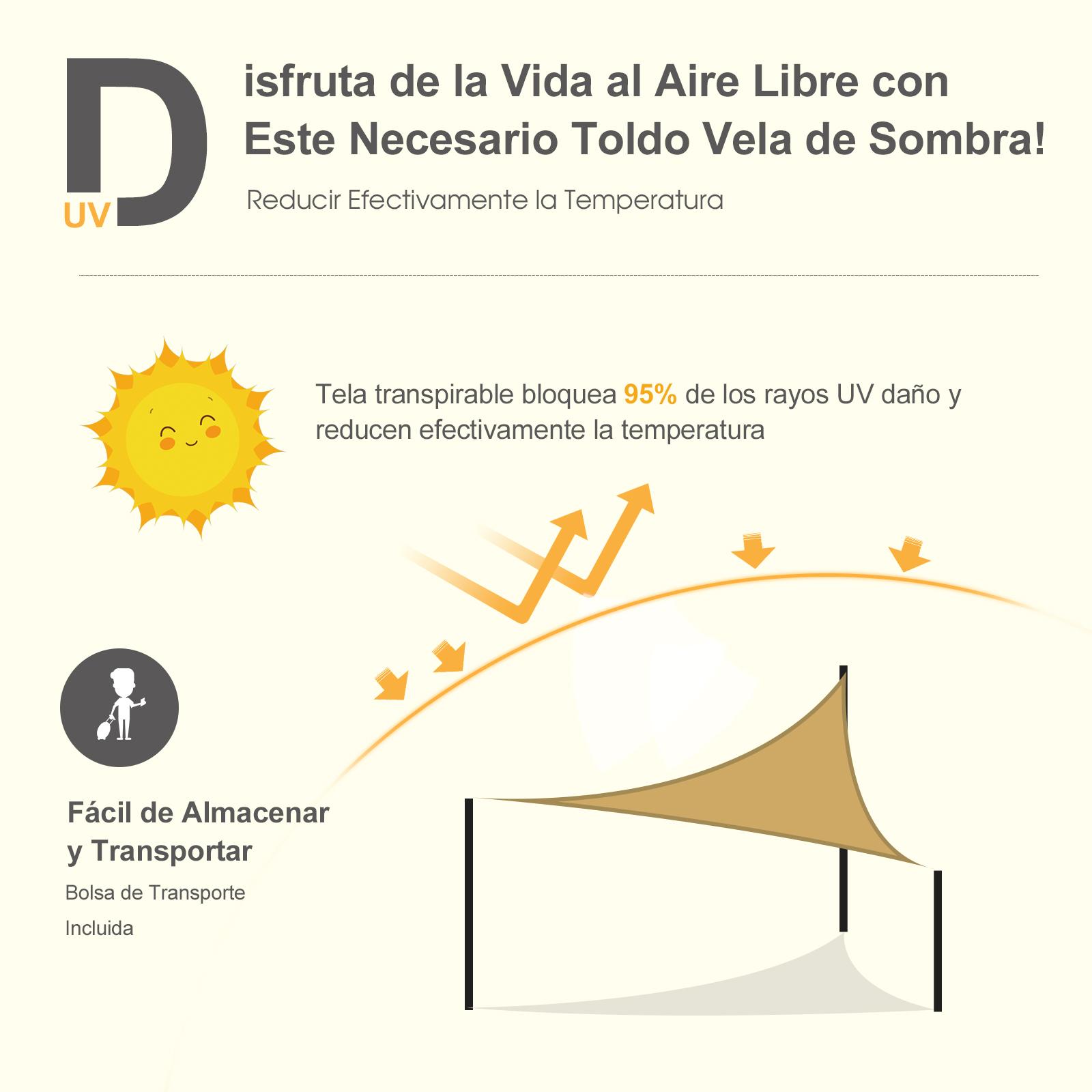 Toldo-Vela-Sombrilla-Parasol-Triangulo-Tejido-de-Poliester-160g-m2-Jardin-Playa miniatura 4