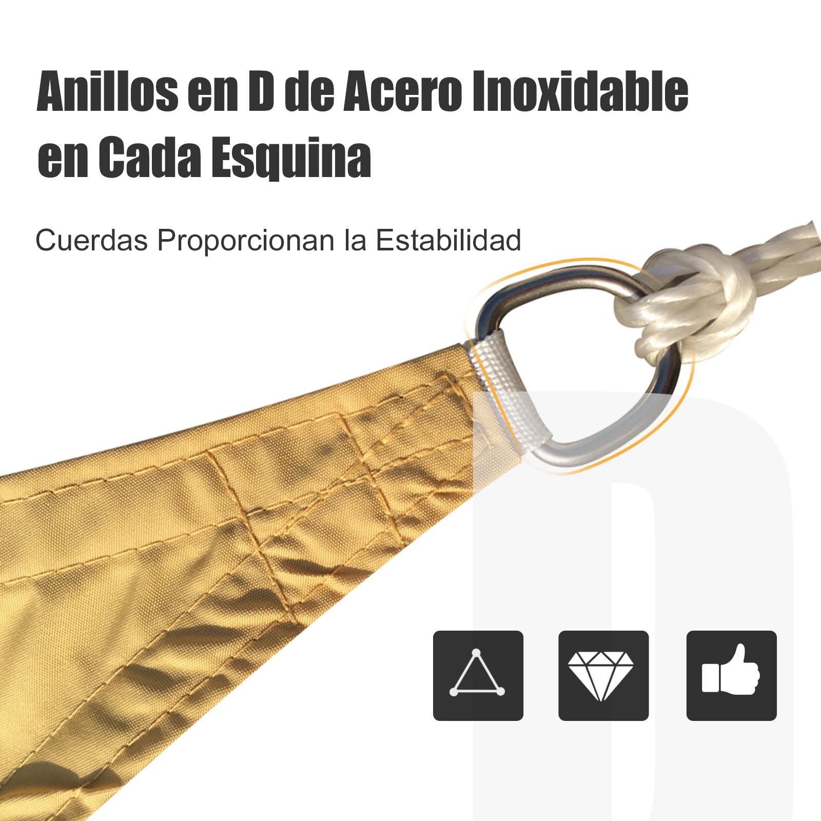 Toldo-Vela-Sombrilla-Parasol-Triangulo-Tejido-de-Poliester-160g-m2-Jardin-Playa miniatura 6
