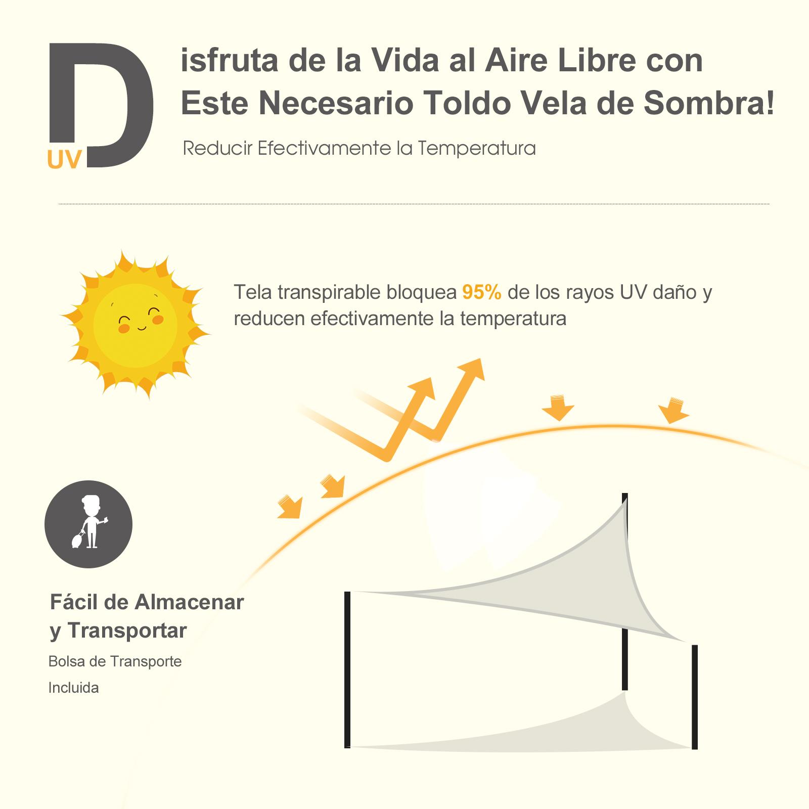 Toldo-Vela-Sombrilla-Parasol-Triangulo-Tejido-de-Poliester-160g-m2-Jardin-Playa miniatura 11
