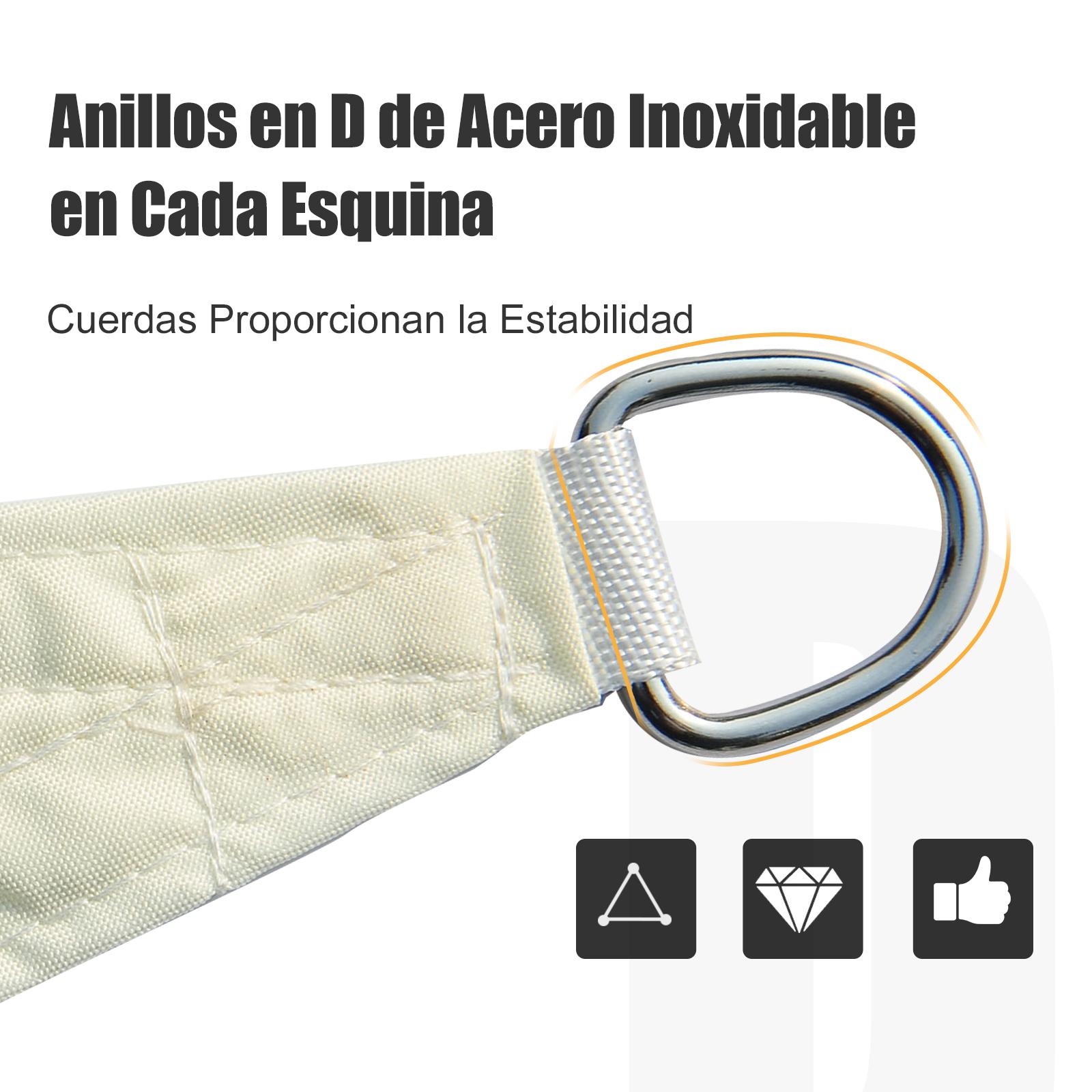Toldo-Vela-Sombrilla-Parasol-Triangulo-Tejido-de-Poliester-160g-m2-Jardin-Playa miniatura 13