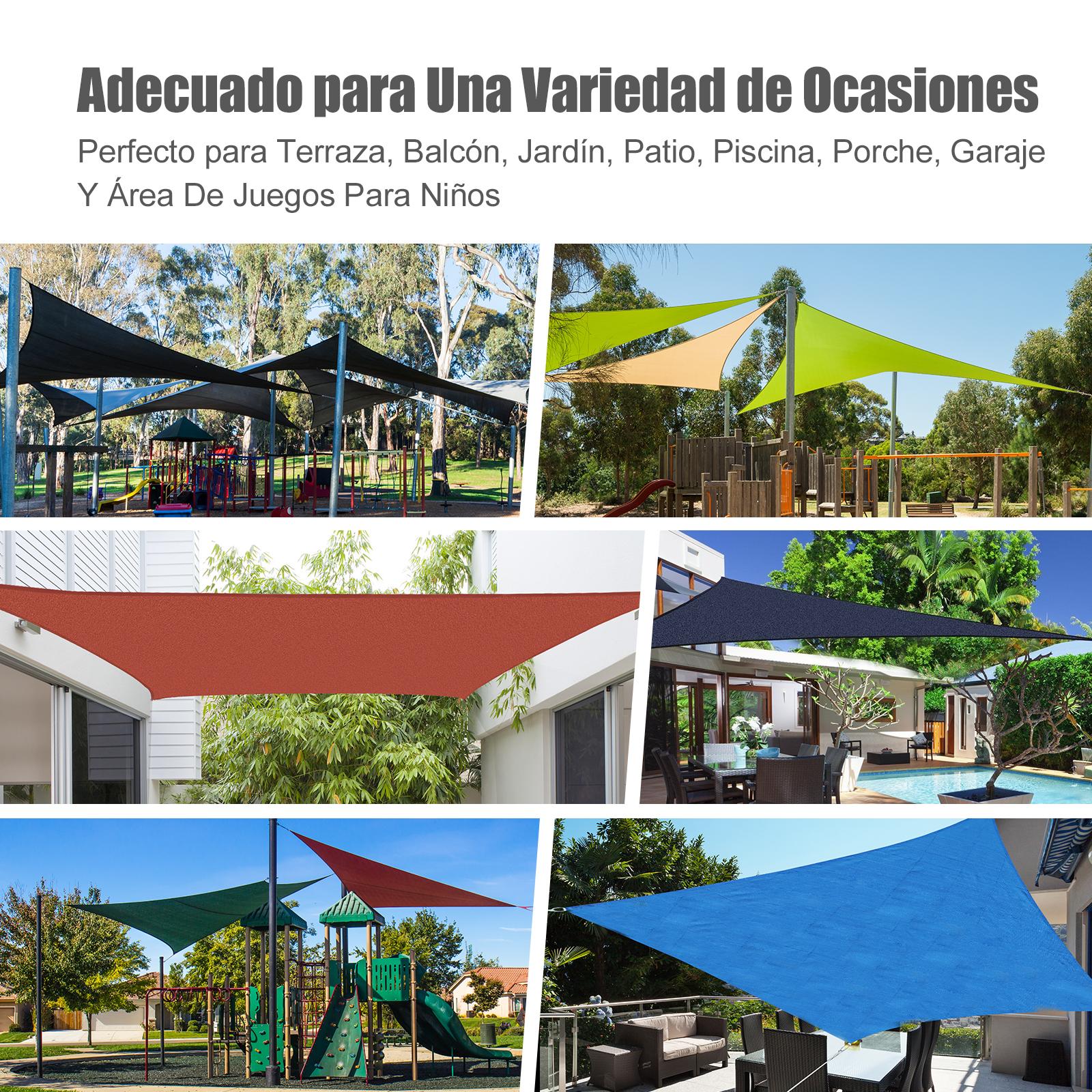 Toldo-Vela-Sombrilla-Parasol-Triangulo-Tejido-de-Poliester-160g-m2-Jardin-Playa miniatura 14