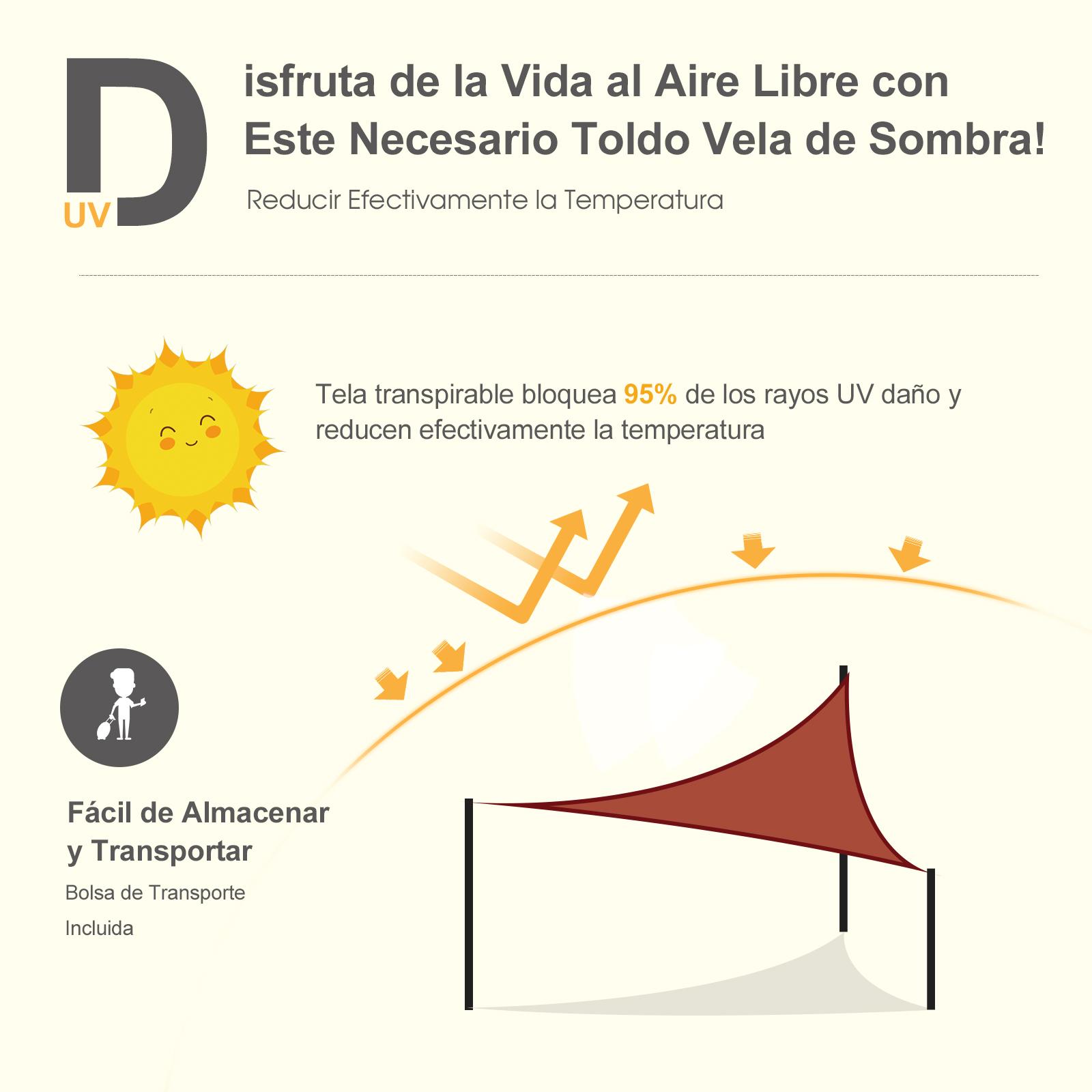 Toldo-Vela-Sombrilla-Parasol-Triangulo-Tejido-de-Poliester-160g-m2-Jardin-Playa miniatura 23
