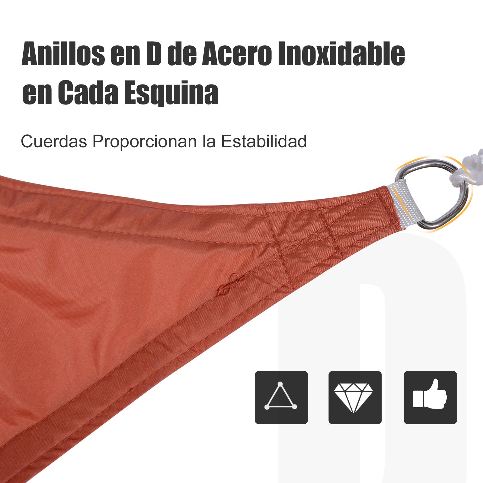 Toldo-Vela-Sombrilla-Parasol-Triangulo-Tejido-de-Poliester-160g-m2-Jardin-Playa miniatura 25