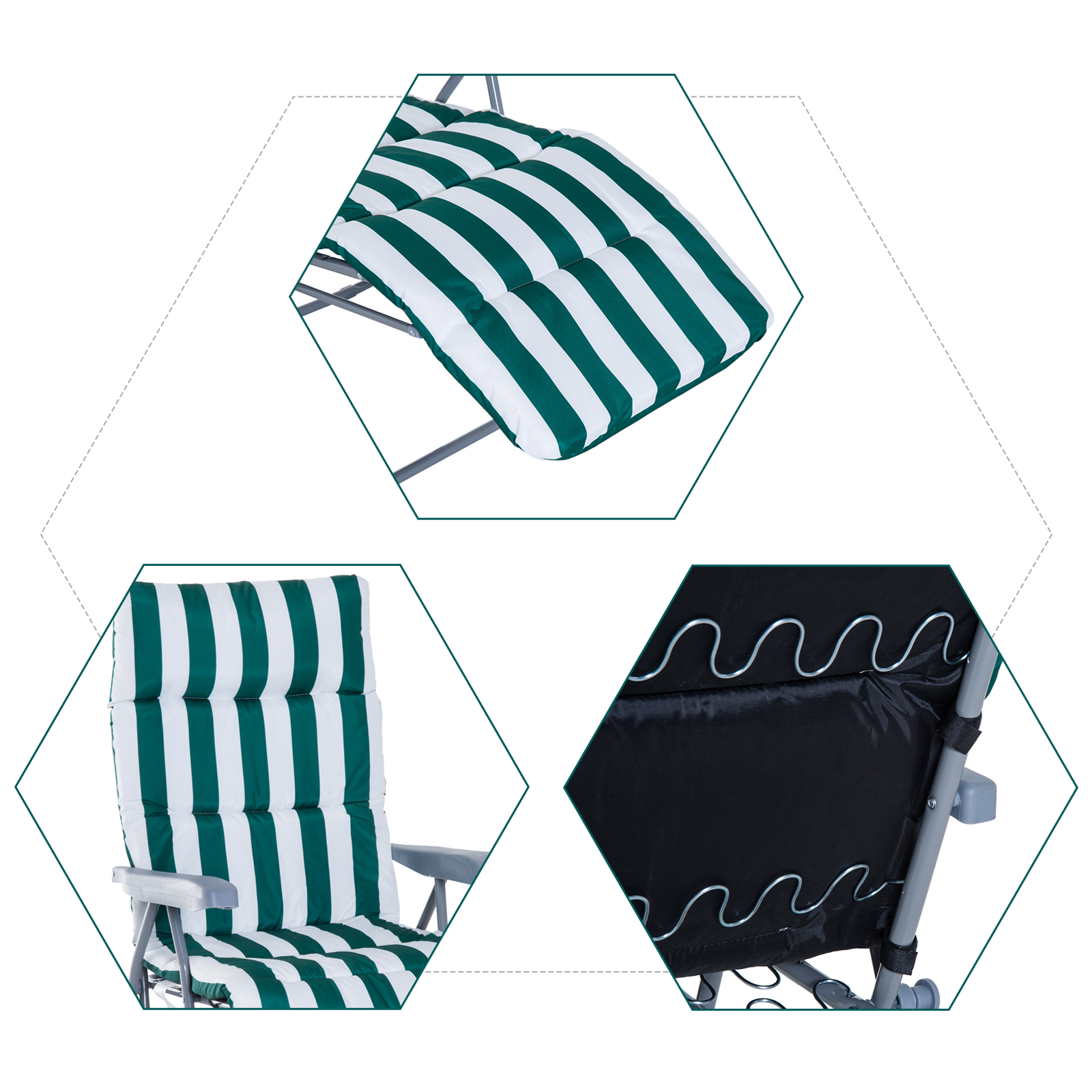 Tumbonas-2Pack-Acero-Plegable-Inclinable-Acolchado-Playa-Camping-Pack-2-Tumbonas miniatura 17