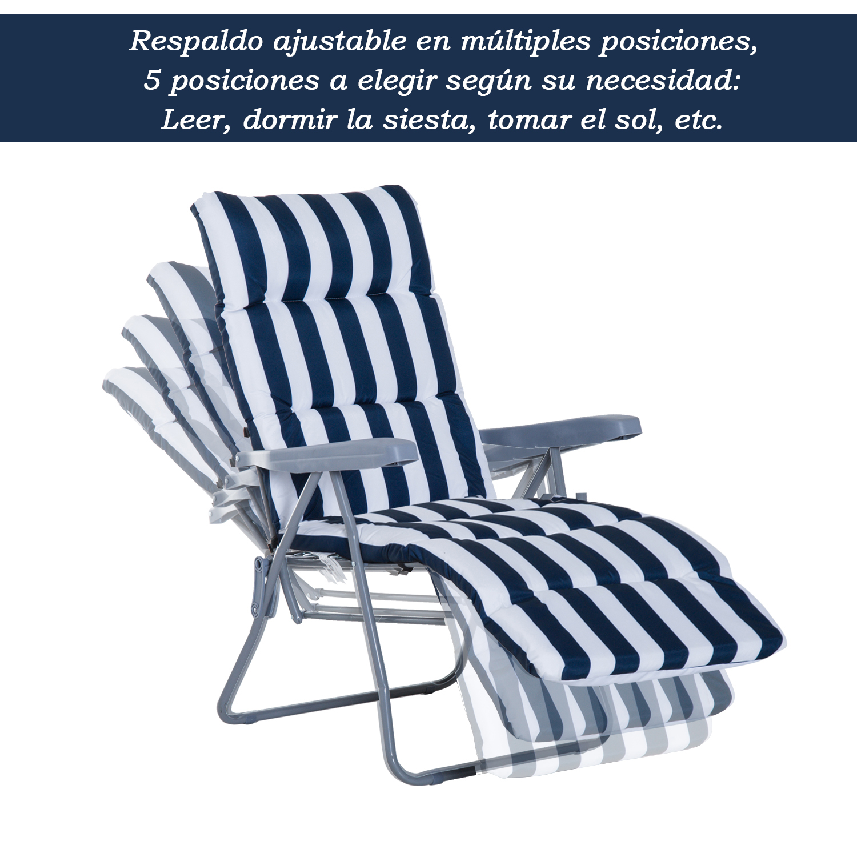 Tumbonas-2Pack-Acero-Plegable-Inclinable-Acolchado-Playa-Camping-Pack-2-Tumbonas miniatura 4