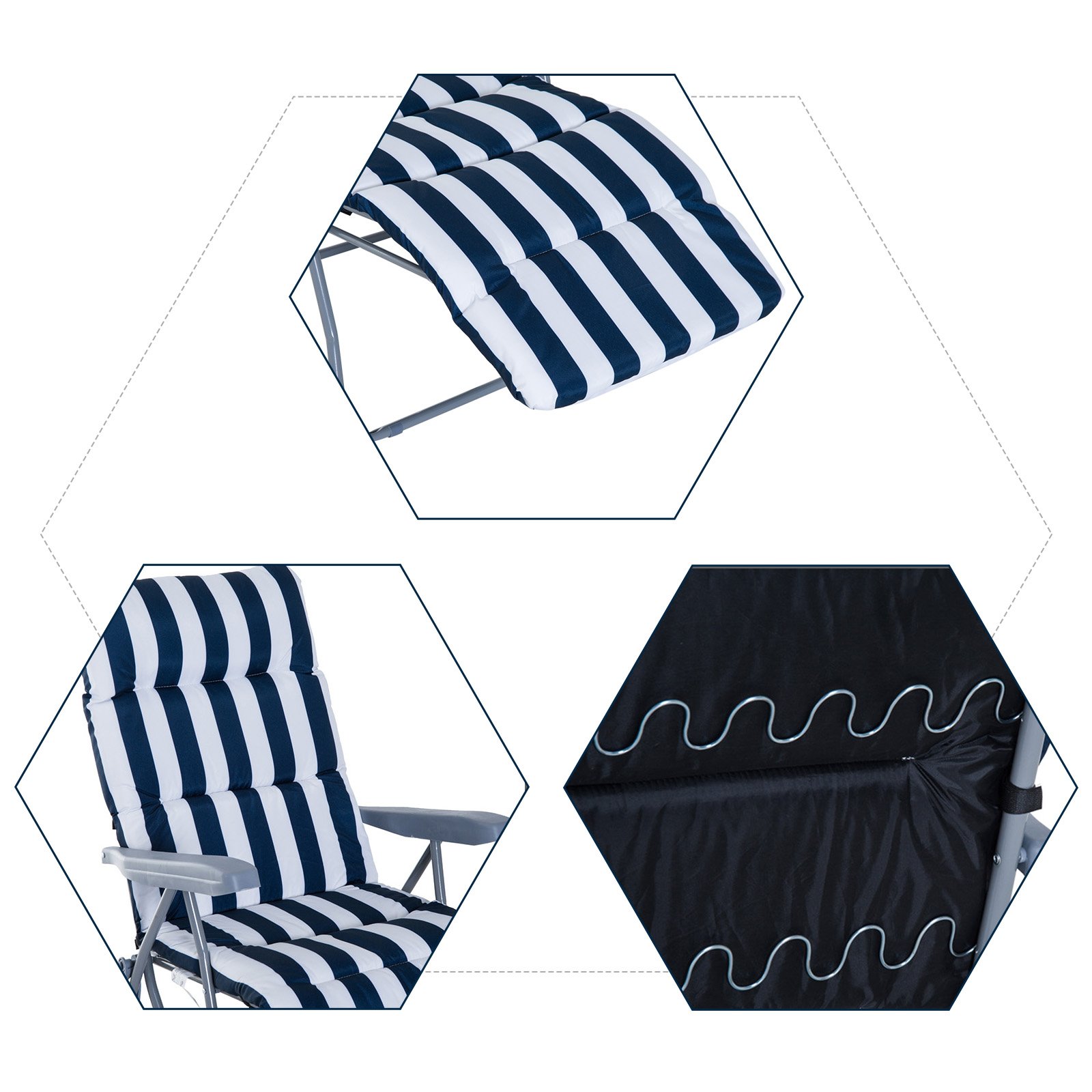 Tumbonas-2Pack-Acero-Plegable-Inclinable-Acolchado-Playa-Camping-Pack-2-Tumbonas miniatura 6