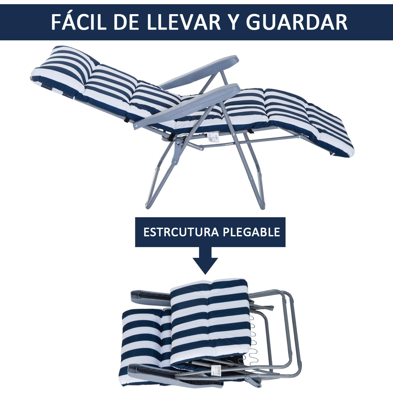 Tumbonas-2Pack-Acero-Plegable-Inclinable-Acolchado-Playa-Camping-Pack-2-Tumbonas miniatura 5
