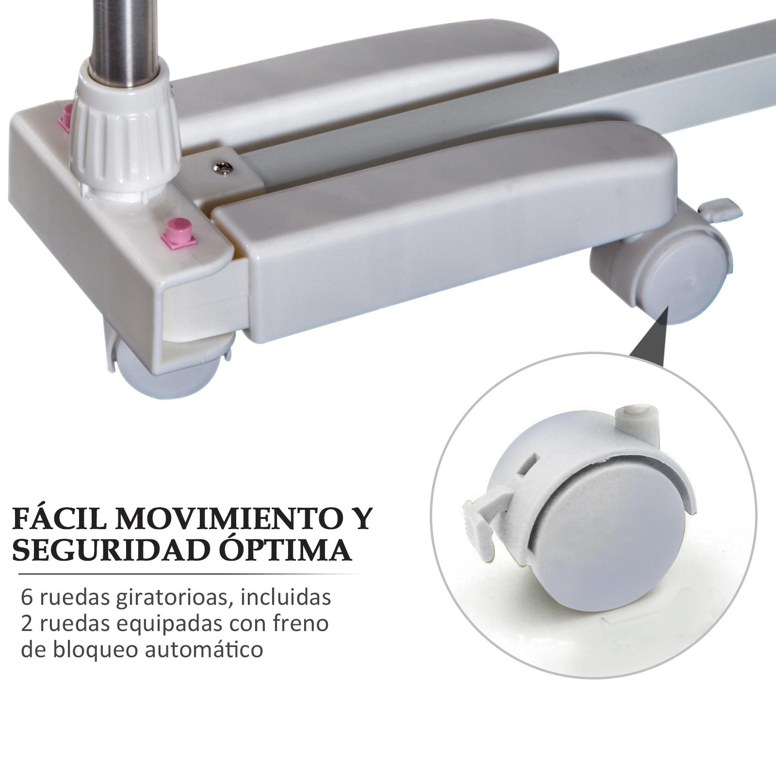 Tendedero-Plegable-6-Ruedas-3-y-4-Niveles-Estantes-Tubo-Acero-Inox-Tendero-Ropa miniatura 14