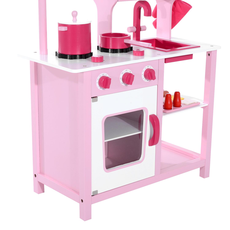Detalles de HOMCOM Cocinita Infantil Madera Cocina Juguete para Niños Juego Imitación Rosa