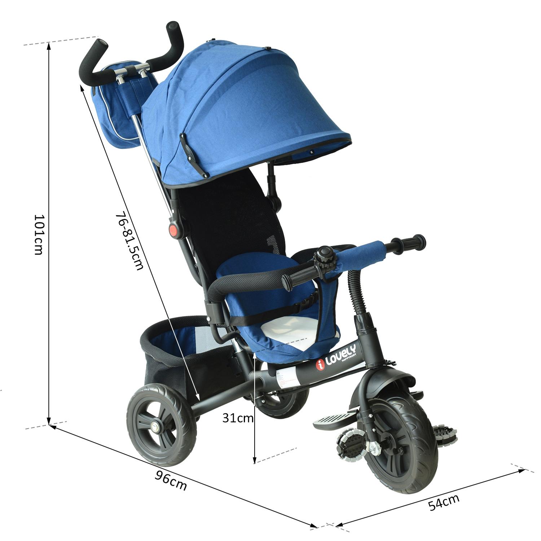 3-EN-1-Triciclo-para-Ninos-18-Meses-Triciclo-con-Pedales-Capota-Barra-de-Padres miniatura 8