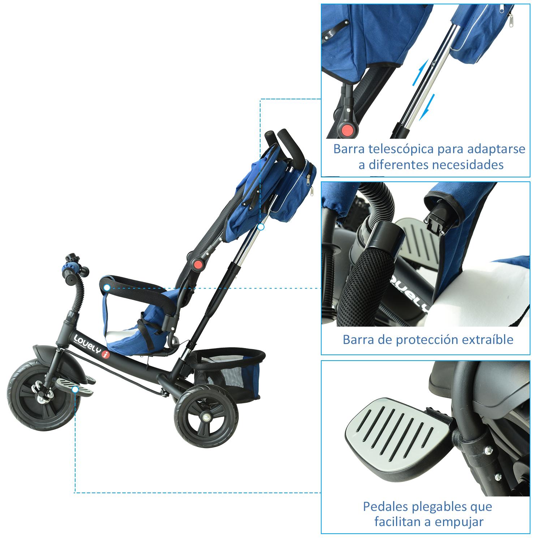 3-EN-1-Triciclo-para-Ninos-18-Meses-Triciclo-con-Pedales-Capota-Barra-de-Padres miniatura 7