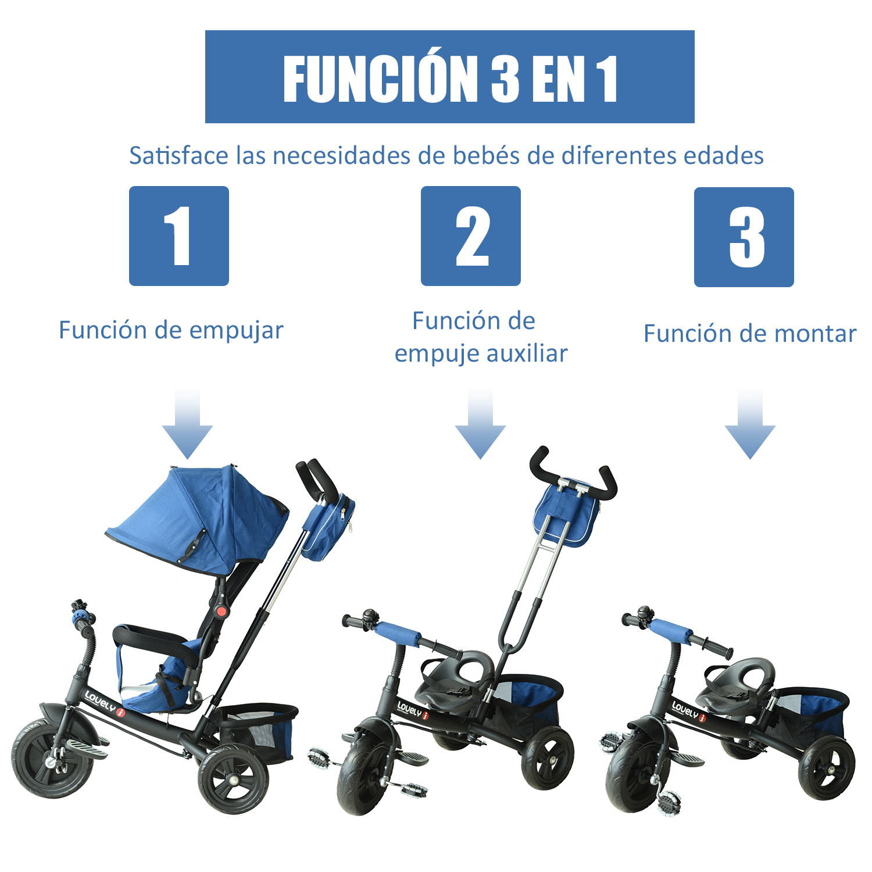 3-EN-1-Triciclo-para-Ninos-18-Meses-Triciclo-con-Pedales-Capota-Barra-de-Padres miniatura 5