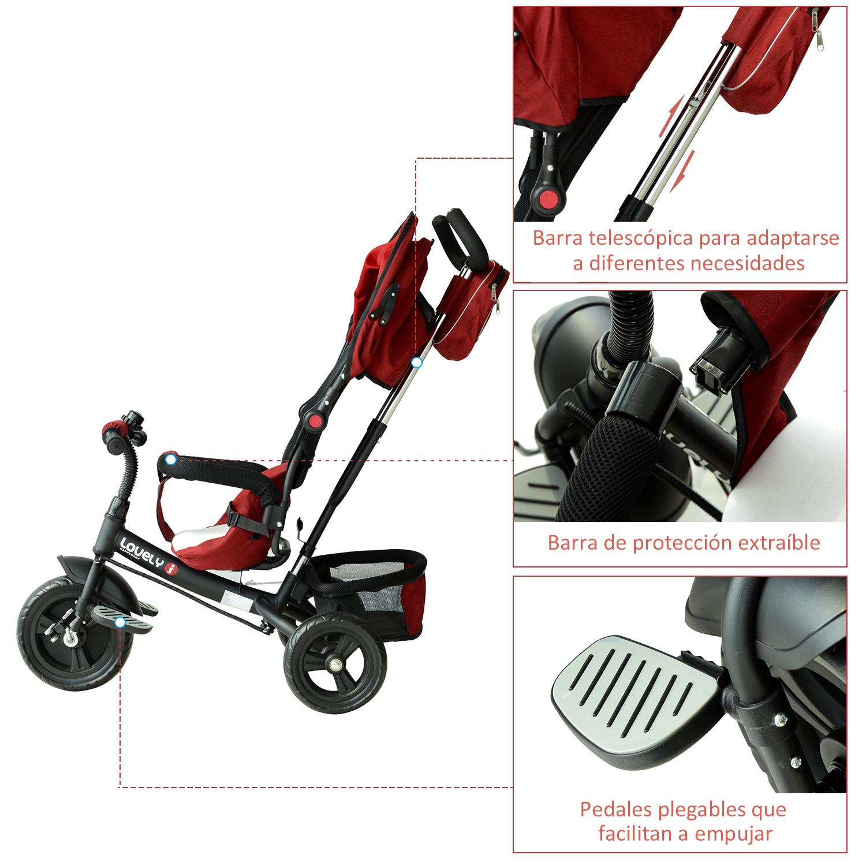 3-EN-1-Triciclo-para-Ninos-18-Meses-Triciclo-con-Pedales-Capota-Barra-de-Padres miniatura 19