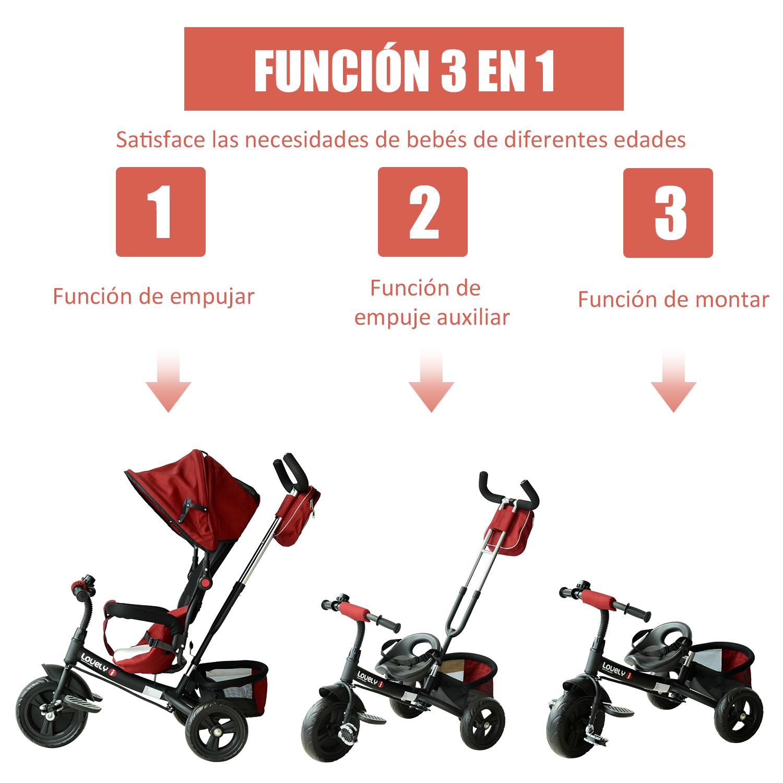 3-EN-1-Triciclo-para-Ninos-18-Meses-Triciclo-con-Pedales-Capota-Barra-de-Padres miniatura 17