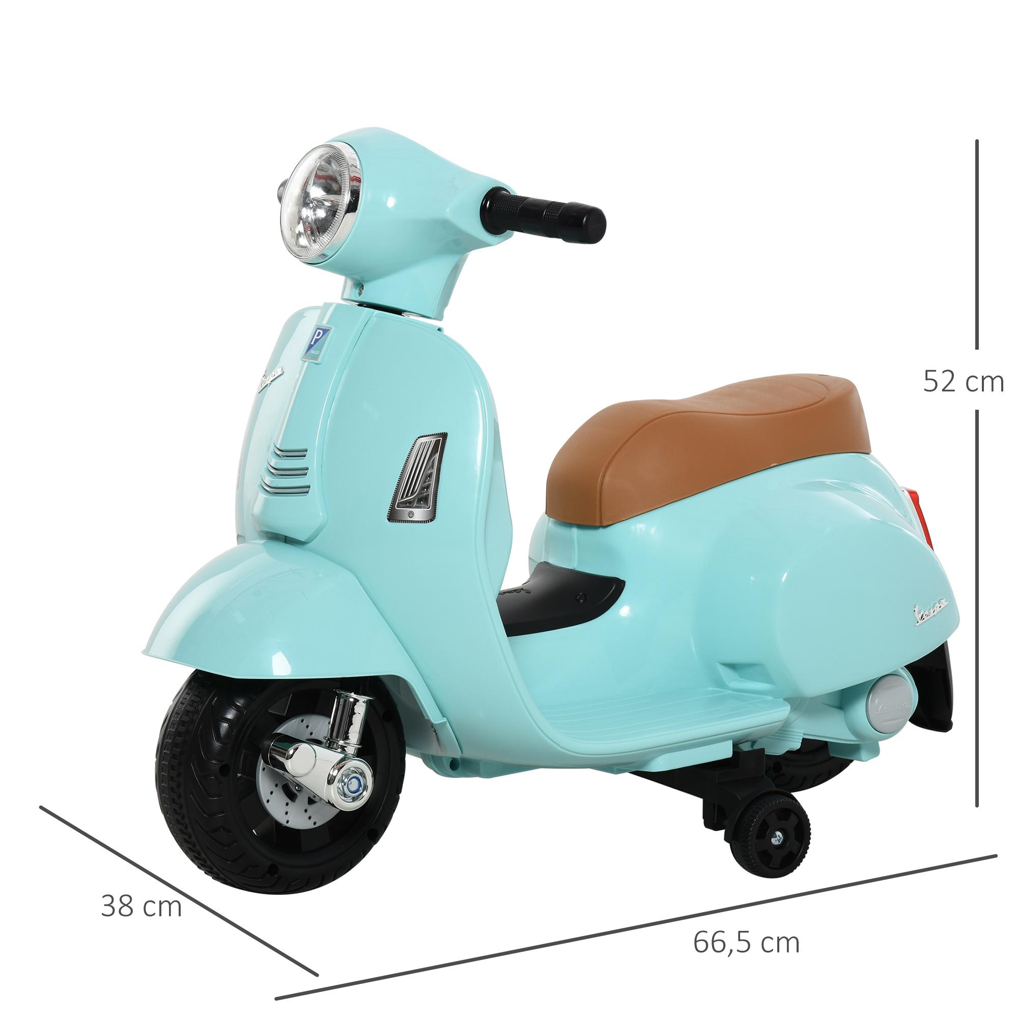 miniatura 23 - Moto Eléctrica Vespa para Niños +18 Meses con Faro Bocina y 4 Ruedas COLOR