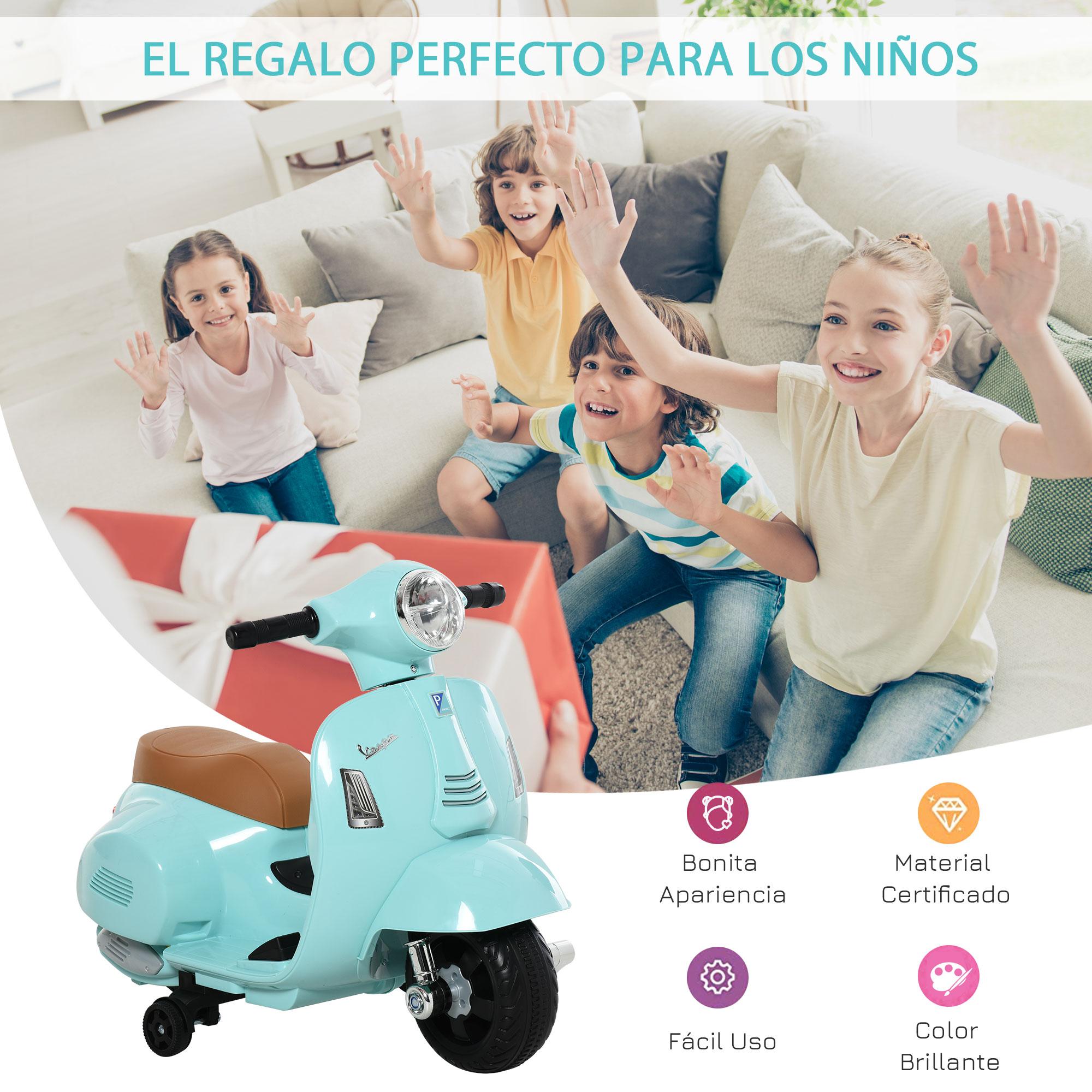 miniatura 19 - Moto Eléctrica Vespa para Niños +18 Meses con Faro Bocina y 4 Ruedas COLOR