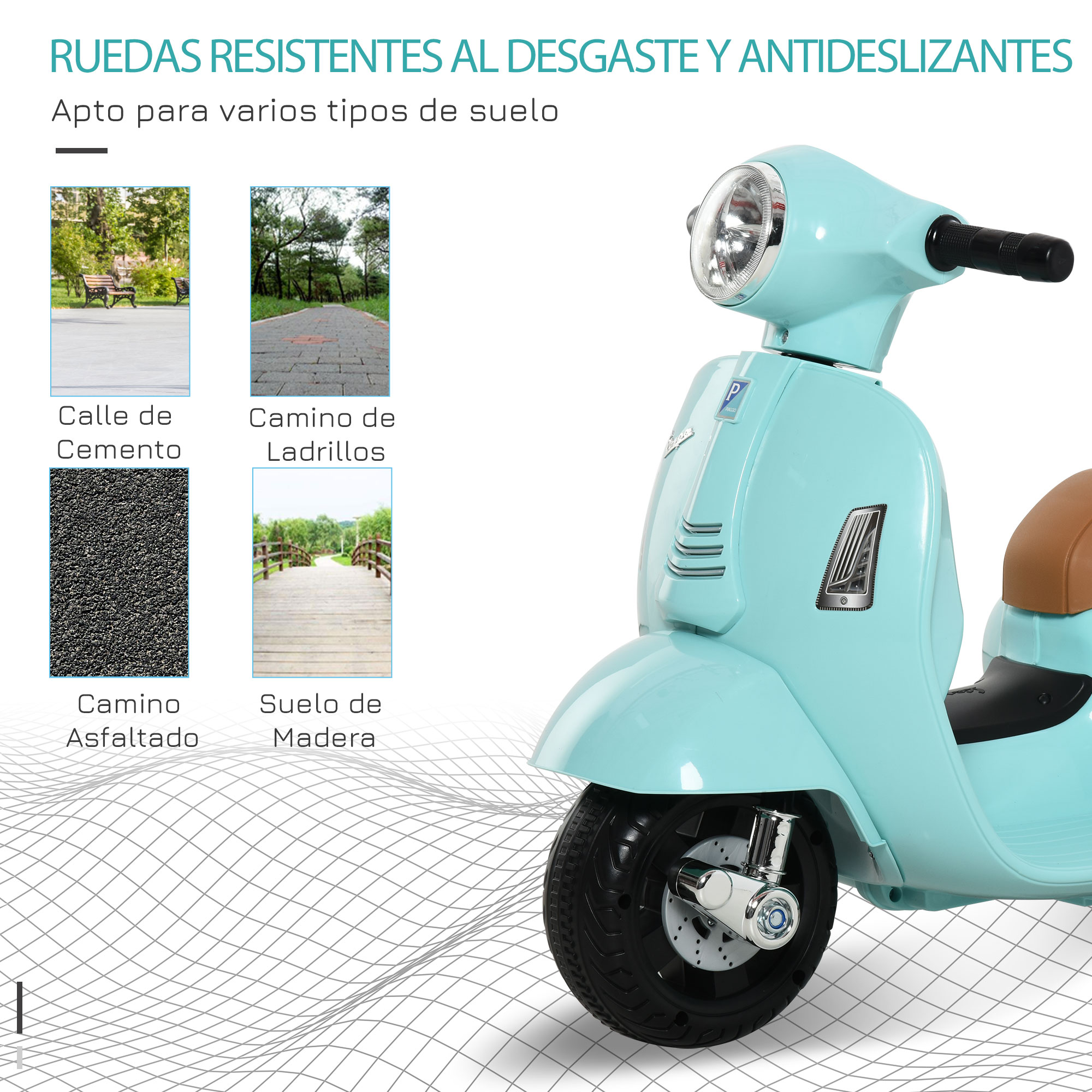 miniatura 20 - Moto Eléctrica Vespa para Niños +18 Meses con Faro Bocina y 4 Ruedas COLOR