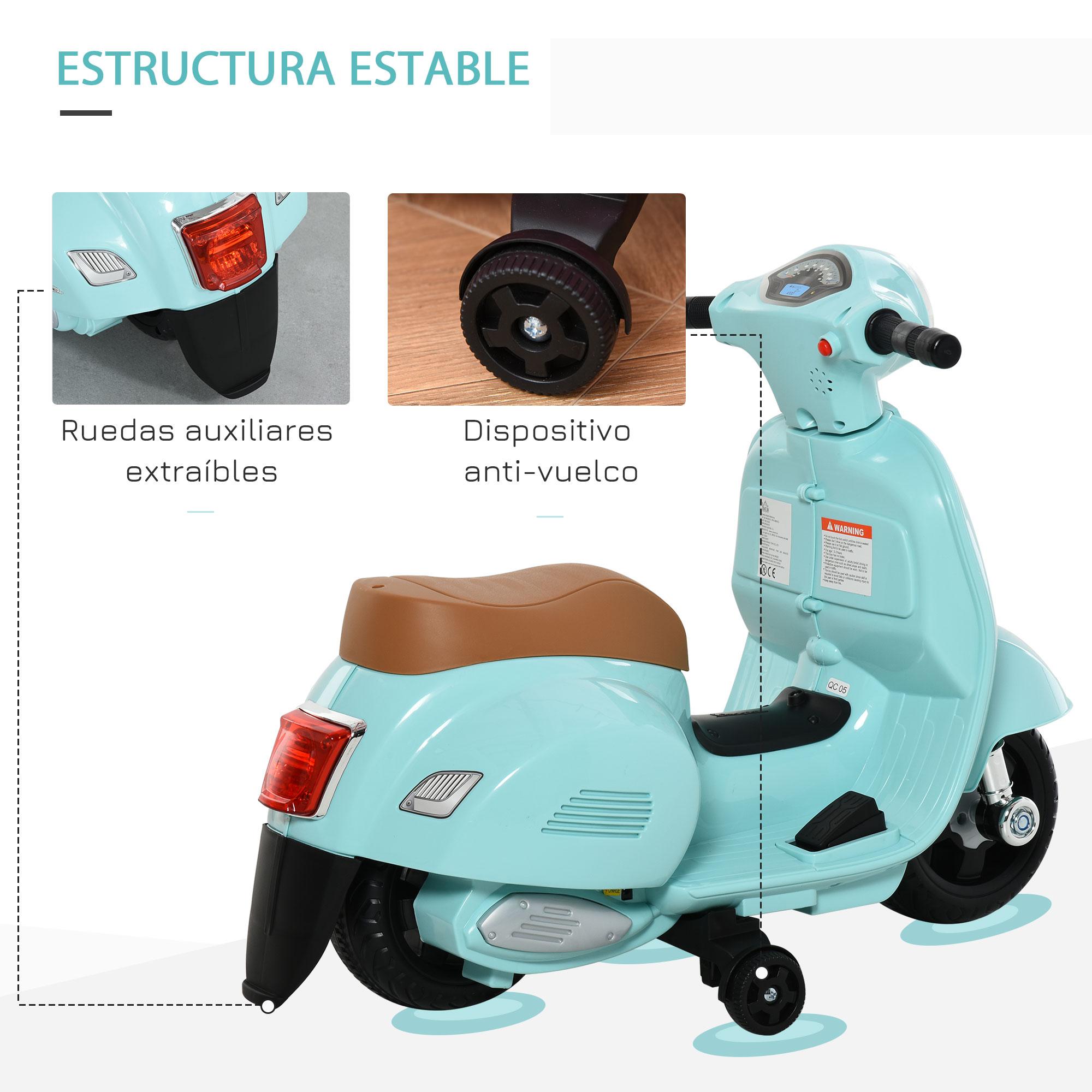 miniatura 21 - Moto Eléctrica Vespa para Niños +18 Meses con Faro Bocina y 4 Ruedas COLOR