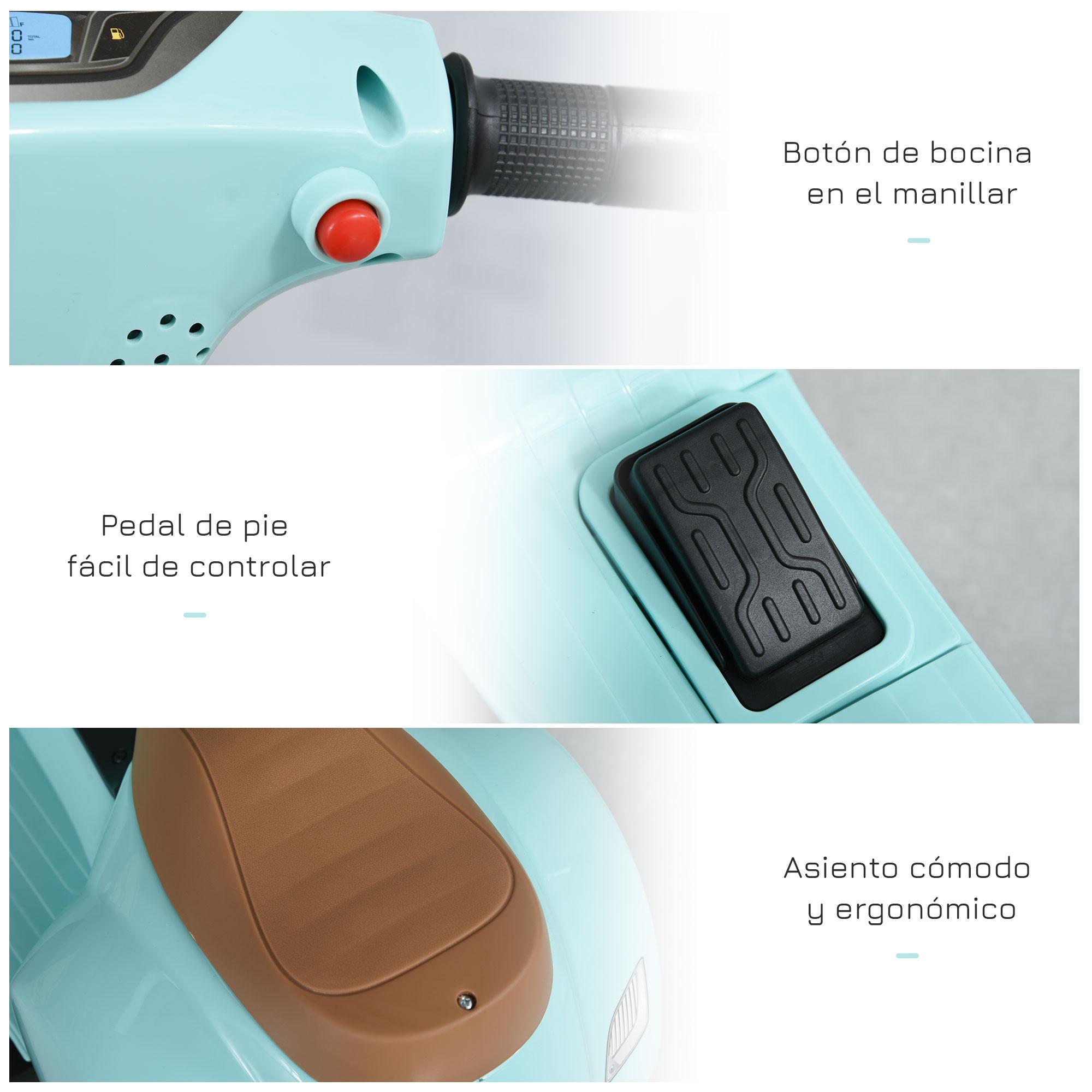 miniatura 22 - Moto Eléctrica Vespa para Niños +18 Meses con Faro Bocina y 4 Ruedas COLOR