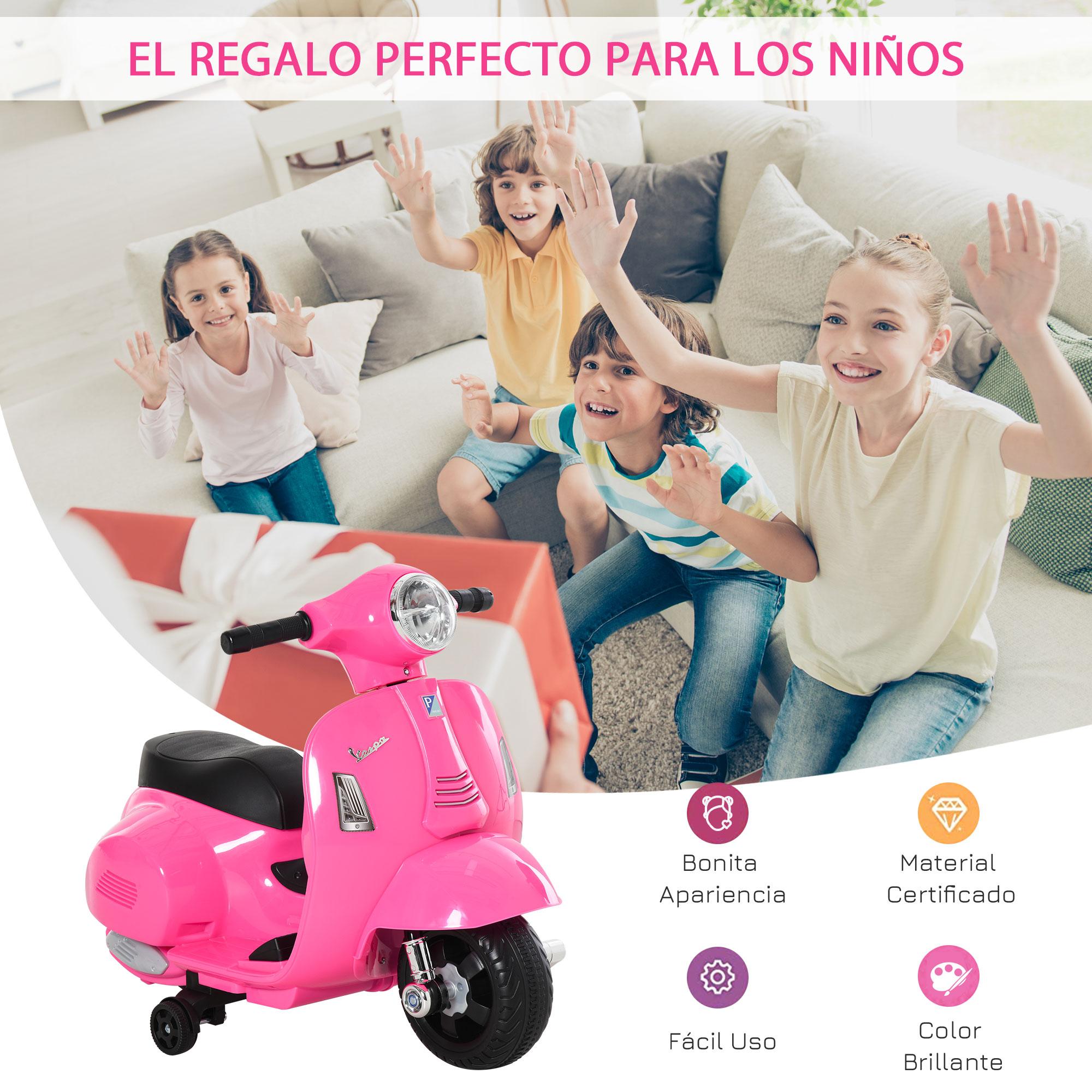 miniatura 10 - Moto Eléctrica Vespa para Niños +18 Meses con Faro Bocina y 4 Ruedas COLOR