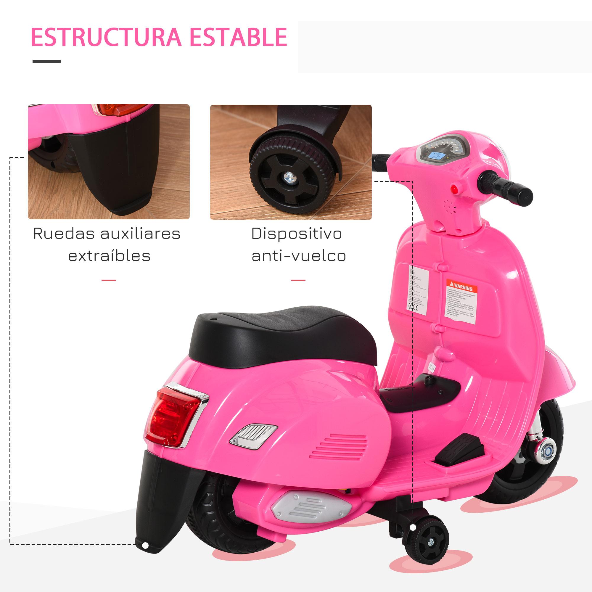 miniatura 11 - Moto Eléctrica Vespa para Niños +18 Meses con Faro Bocina y 4 Ruedas COLOR