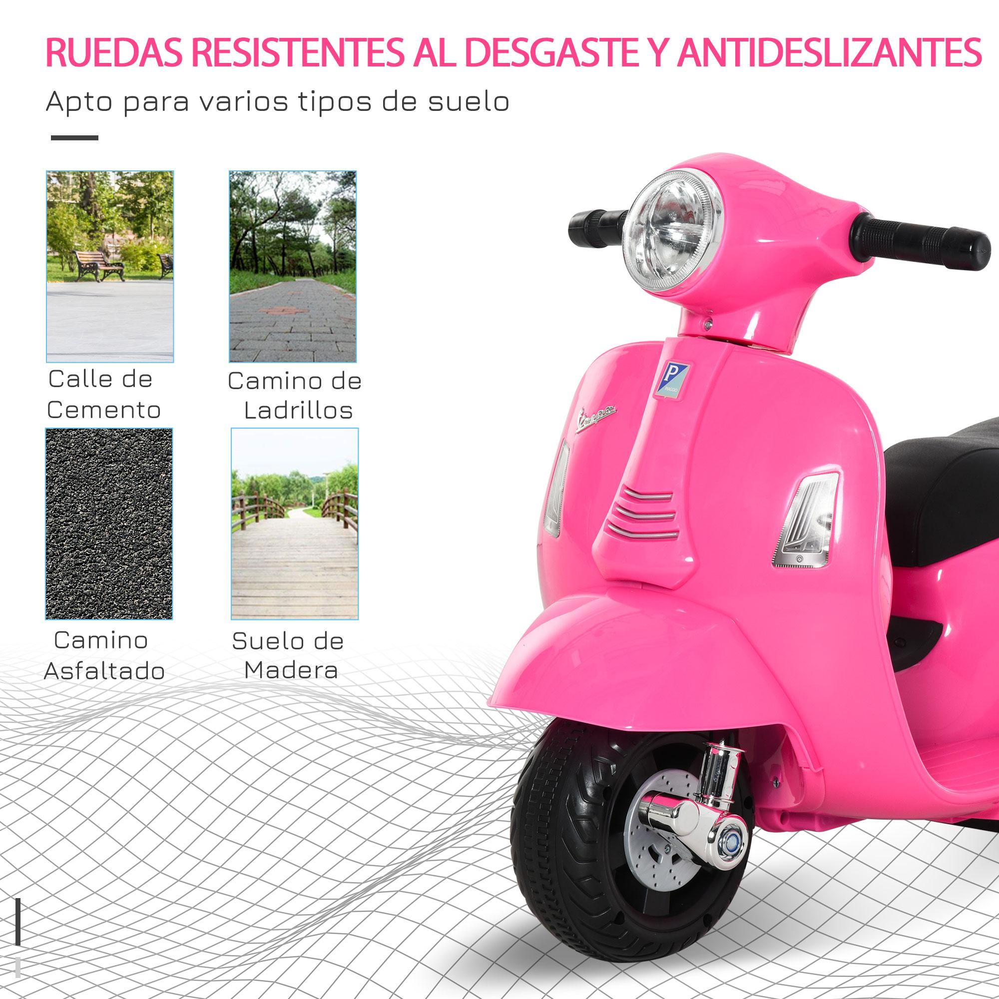 miniatura 12 - Moto Eléctrica Vespa para Niños +18 Meses con Faro Bocina y 4 Ruedas COLOR