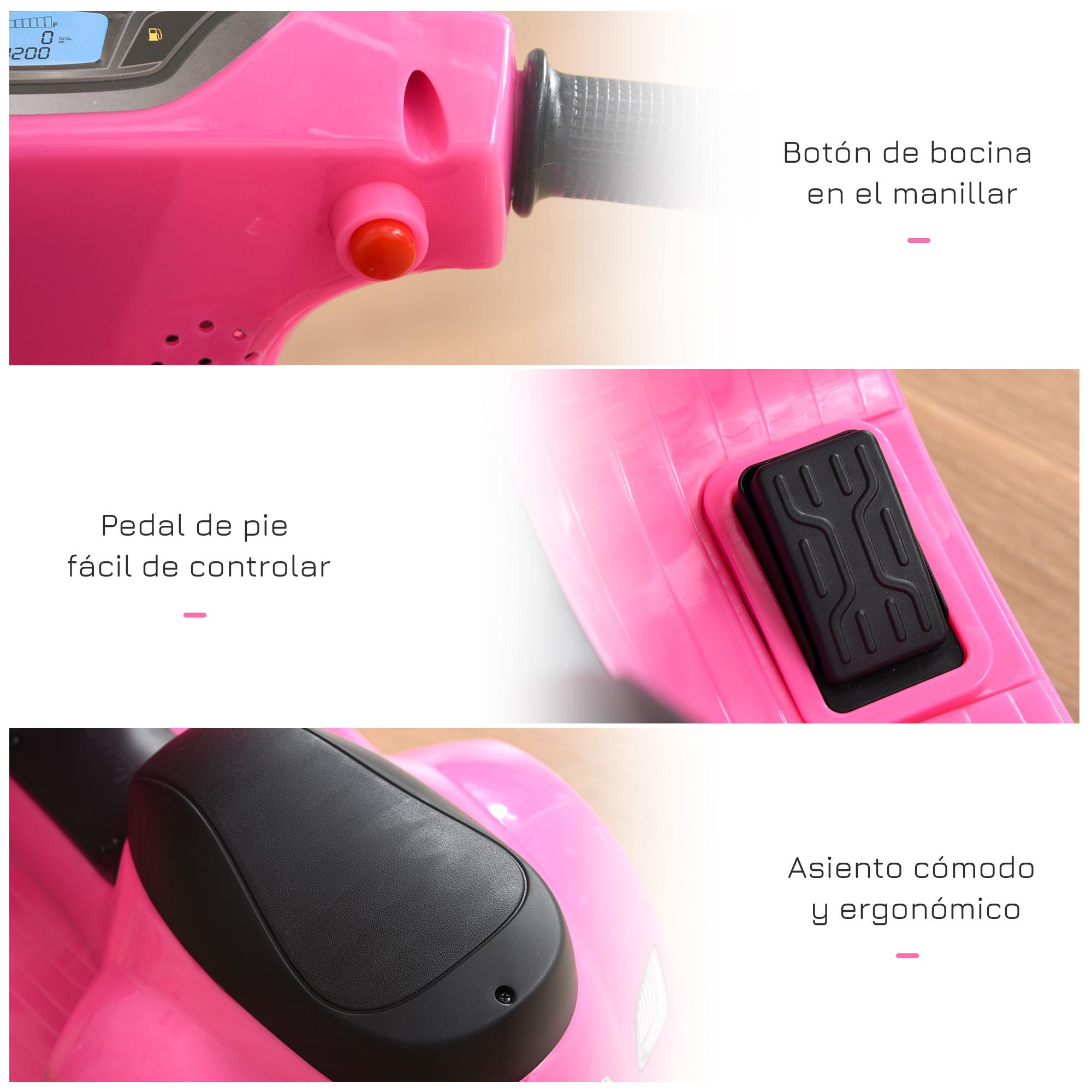 miniatura 13 - Moto Eléctrica Vespa para Niños +18 Meses con Faro Bocina y 4 Ruedas COLOR