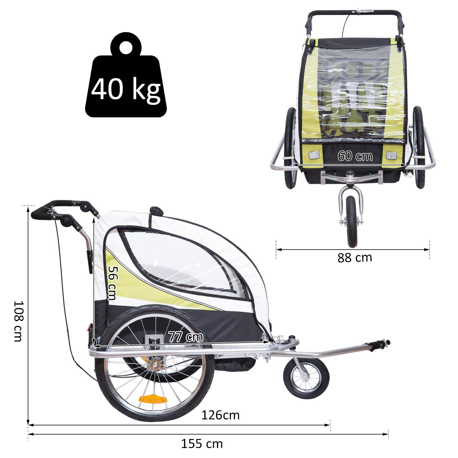 miniatura 32 - Remolque para Bicicleta tipo Carro con Barra de Paseo para Niños de 2 Plazas NUE