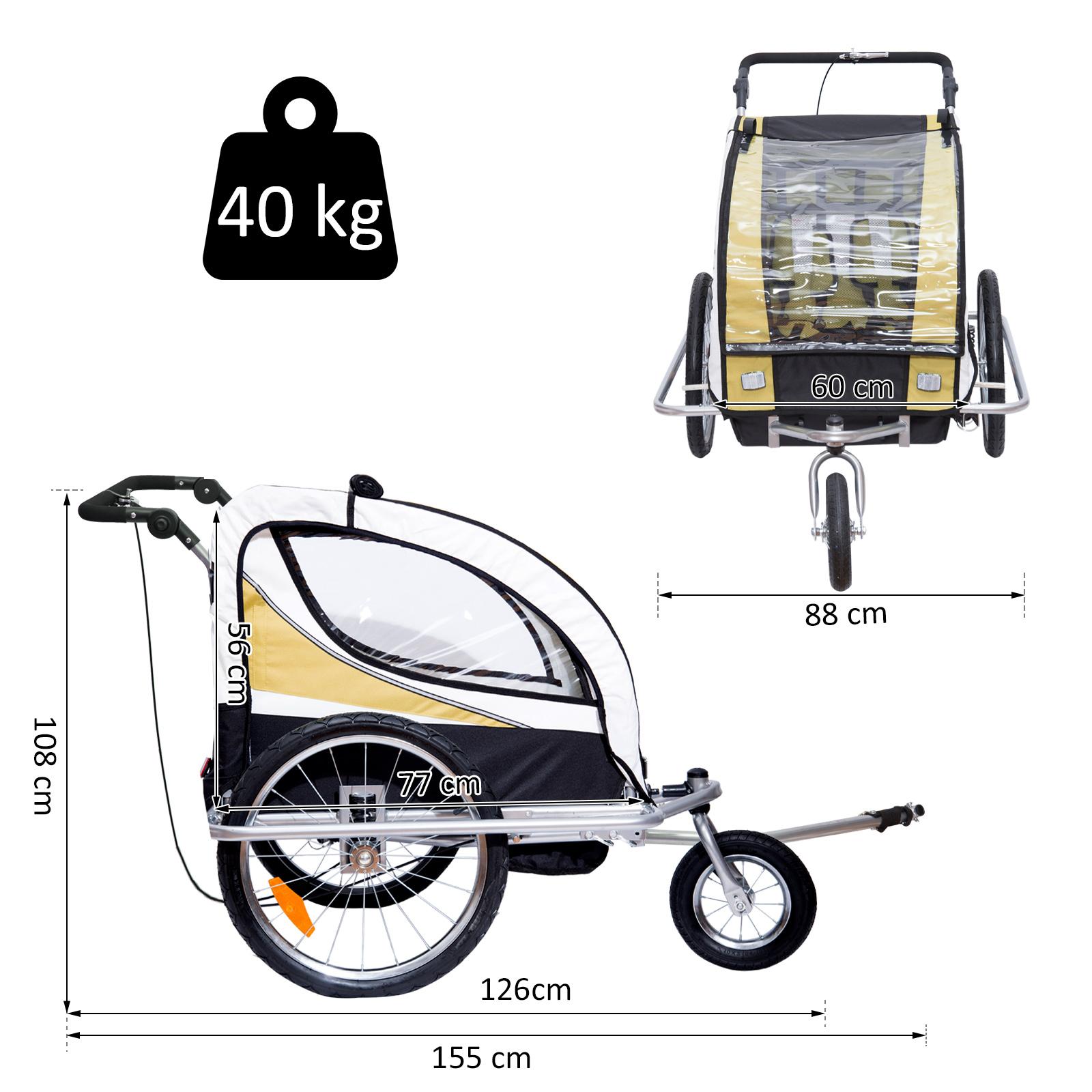 miniatura 8 - Remolque para Bicicleta tipo Carro con Barra de Paseo para Niños de 2 Plazas NUE