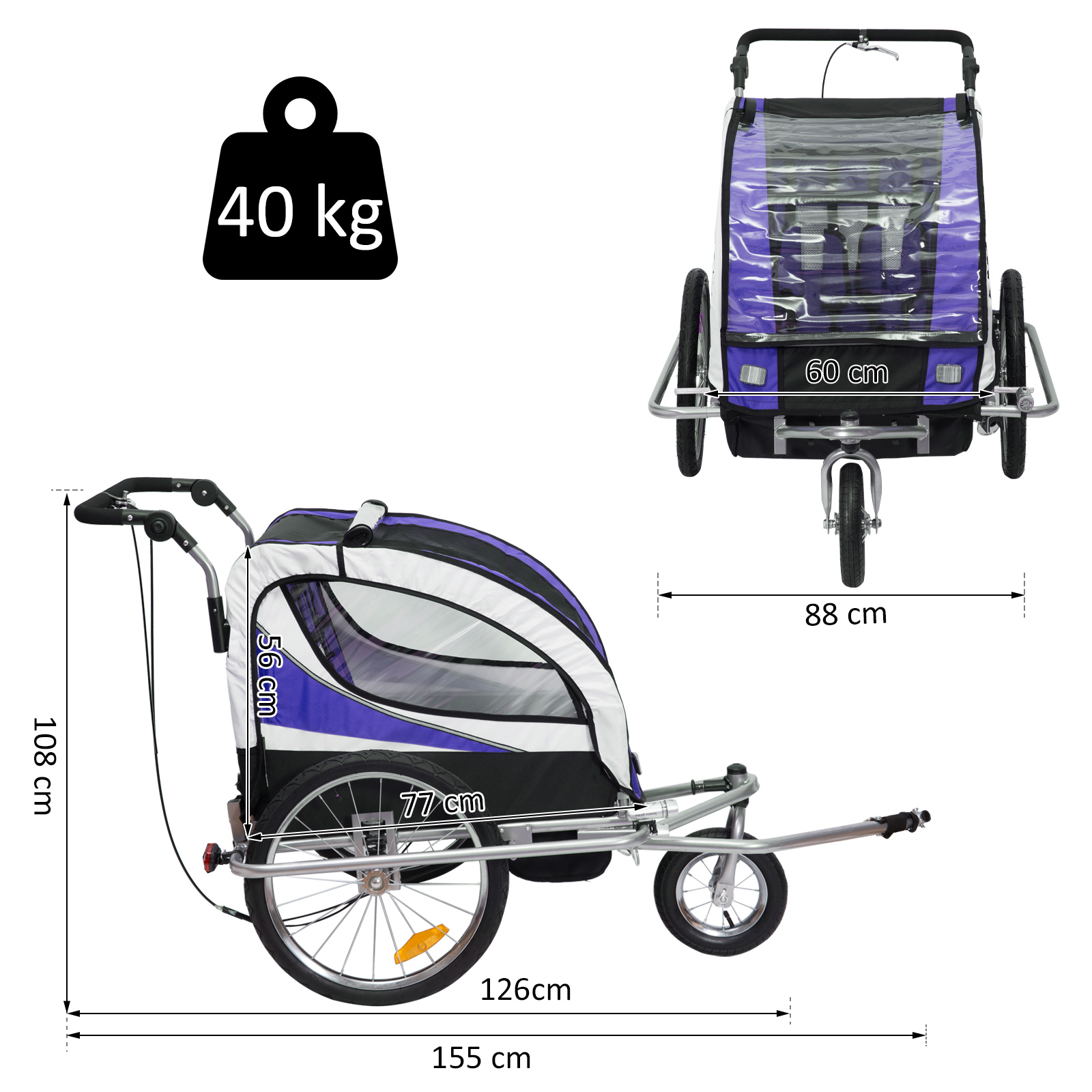 miniatura 44 - Remolque para Bicicleta tipo Carro con Barra de Paseo para Niños de 2 Plazas NUE