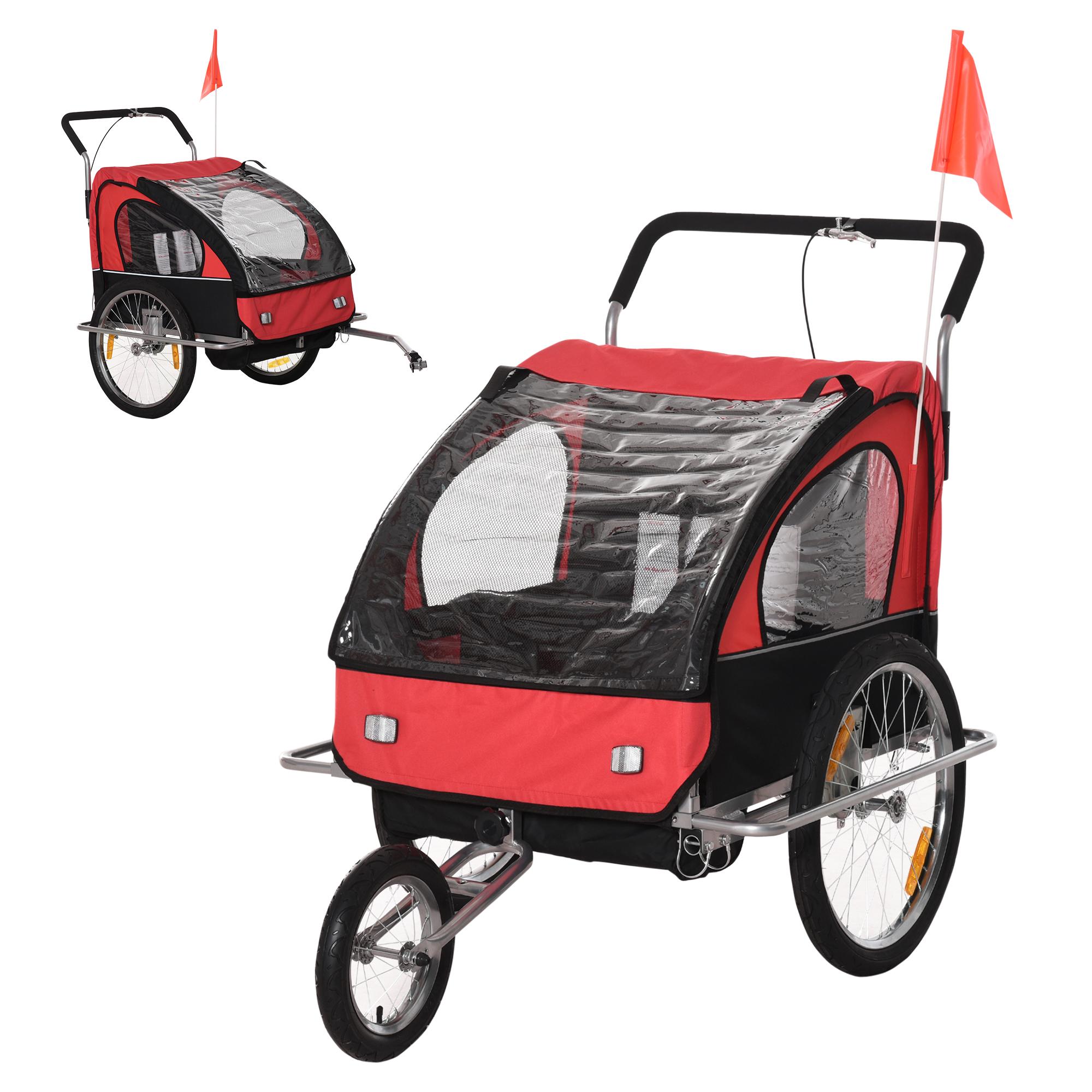 miniatura 31 - Remolque Bicicleta Niño 2 PLAZAS+Amortiguador Kit Footing Freno Bandera Cubierta