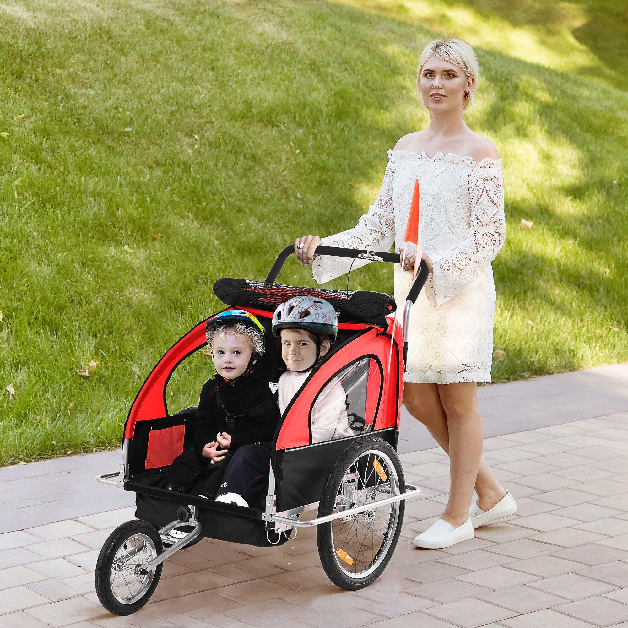 miniatura 35 - Remolque Bicicleta Niño 2 PLAZAS+Amortiguador Kit Footing Freno Bandera Cubierta