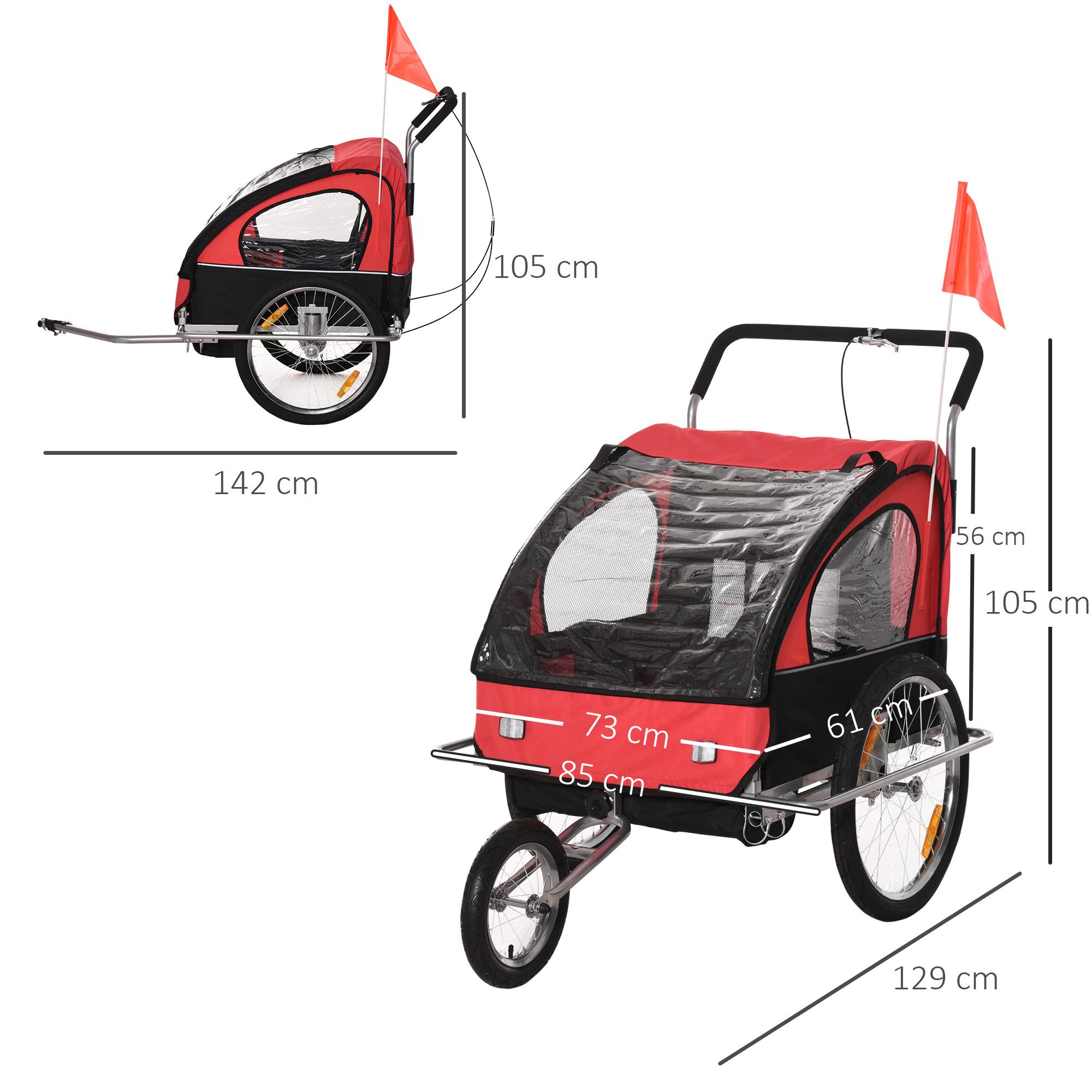 miniatura 36 - Remolque Bicicleta Niño 2 PLAZAS+Amortiguador Kit Footing Freno Bandera Cubierta