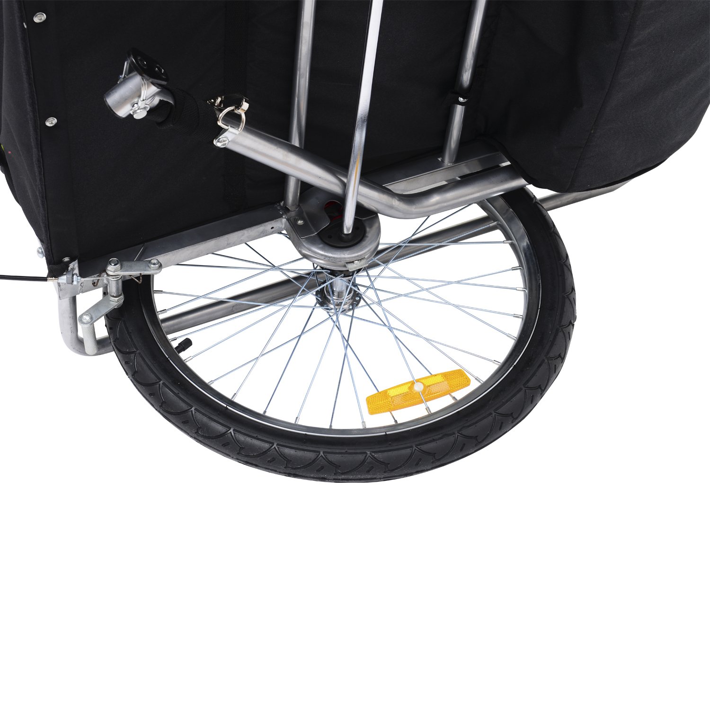 Remolque-Bicicleta-Nino-2-PLAZAS-Amortiguador-Kit-Footing-Freno-Bandera-Cubierta miniatura 14