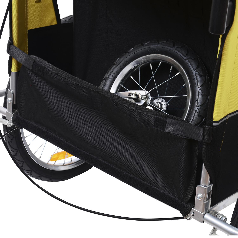 Remolque-Bicicleta-Nino-2-PLAZAS-Amortiguador-Kit-Footing-Freno-Bandera-Cubierta miniatura 6