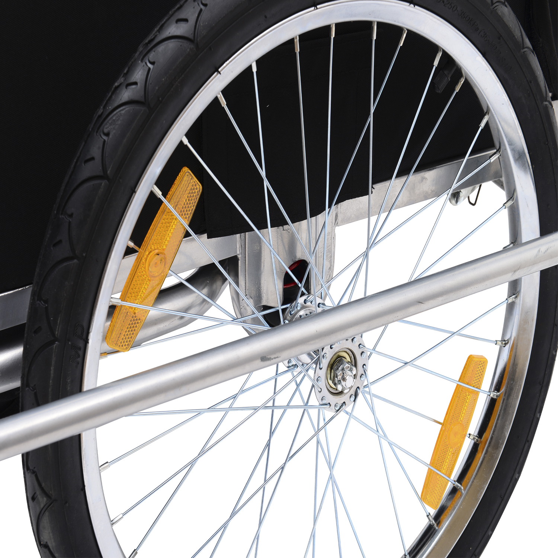 Remolque-Bicicleta-Nino-2-PLAZAS-Amortiguador-Kit-Footing-Freno-Bandera-Cubierta miniatura 7