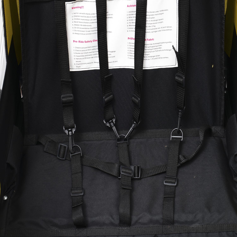 Remolque-Bicicleta-Nino-2-PLAZAS-Amortiguador-Kit-Footing-Freno-Bandera-Cubierta miniatura 11