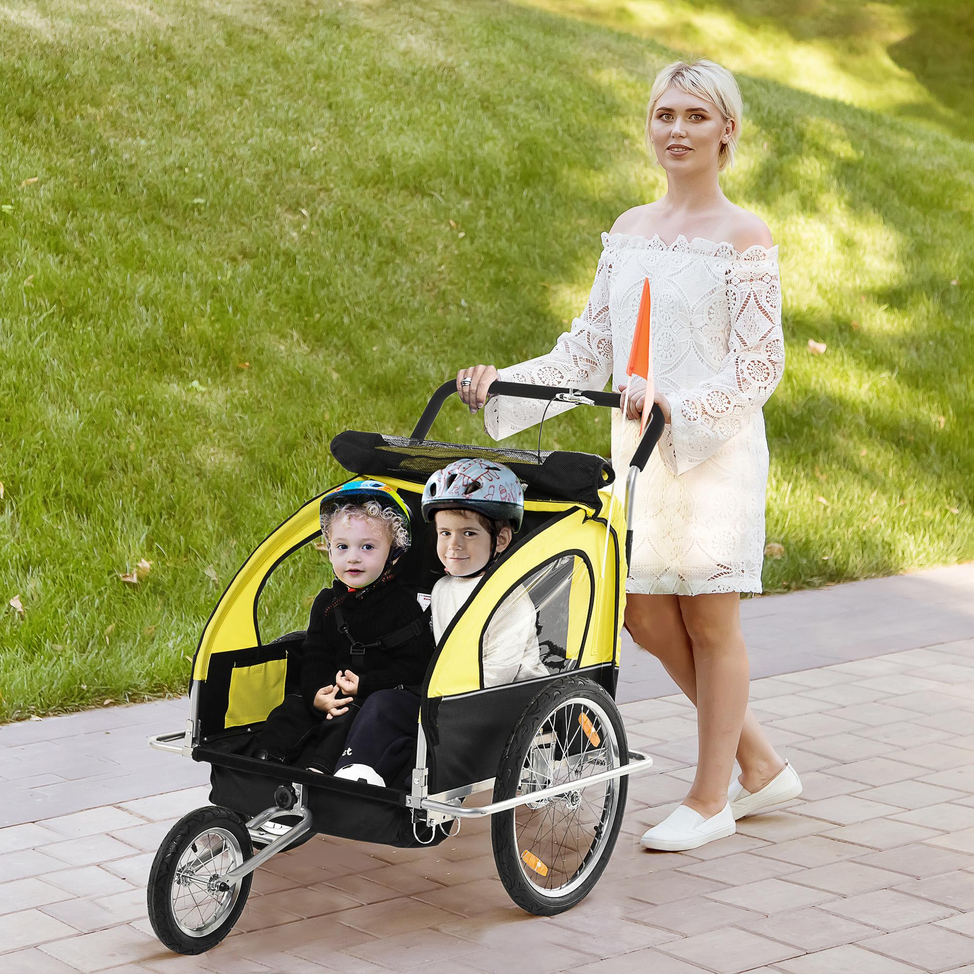 miniatura 10 - Remolque Bicicleta Niño 2 PLAZAS+Amortiguador Kit Footing Freno Bandera Cubierta