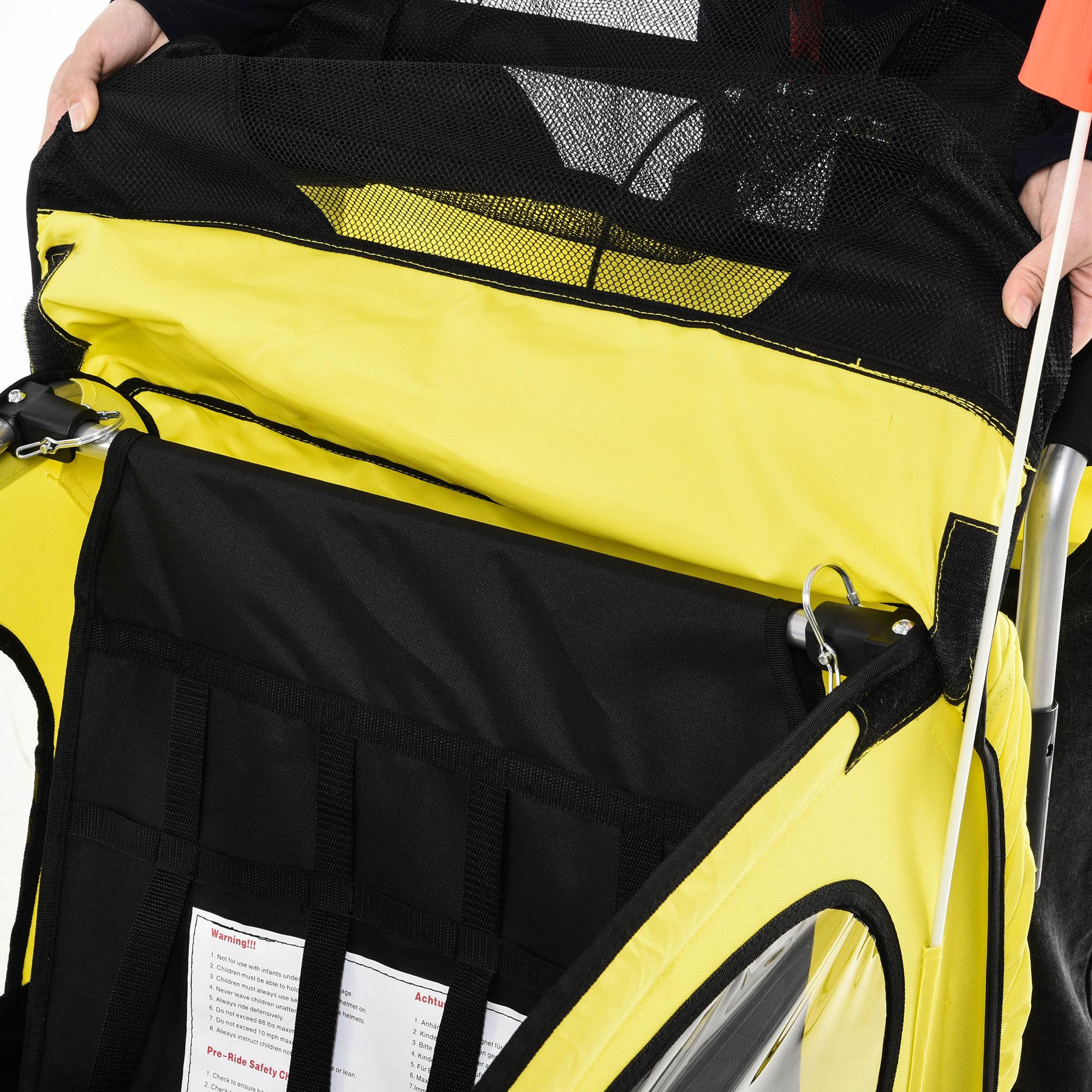 miniatura 8 - Remolque Bicicleta Niño 2 PLAZAS+Amortiguador Kit Footing Freno Bandera Cubierta