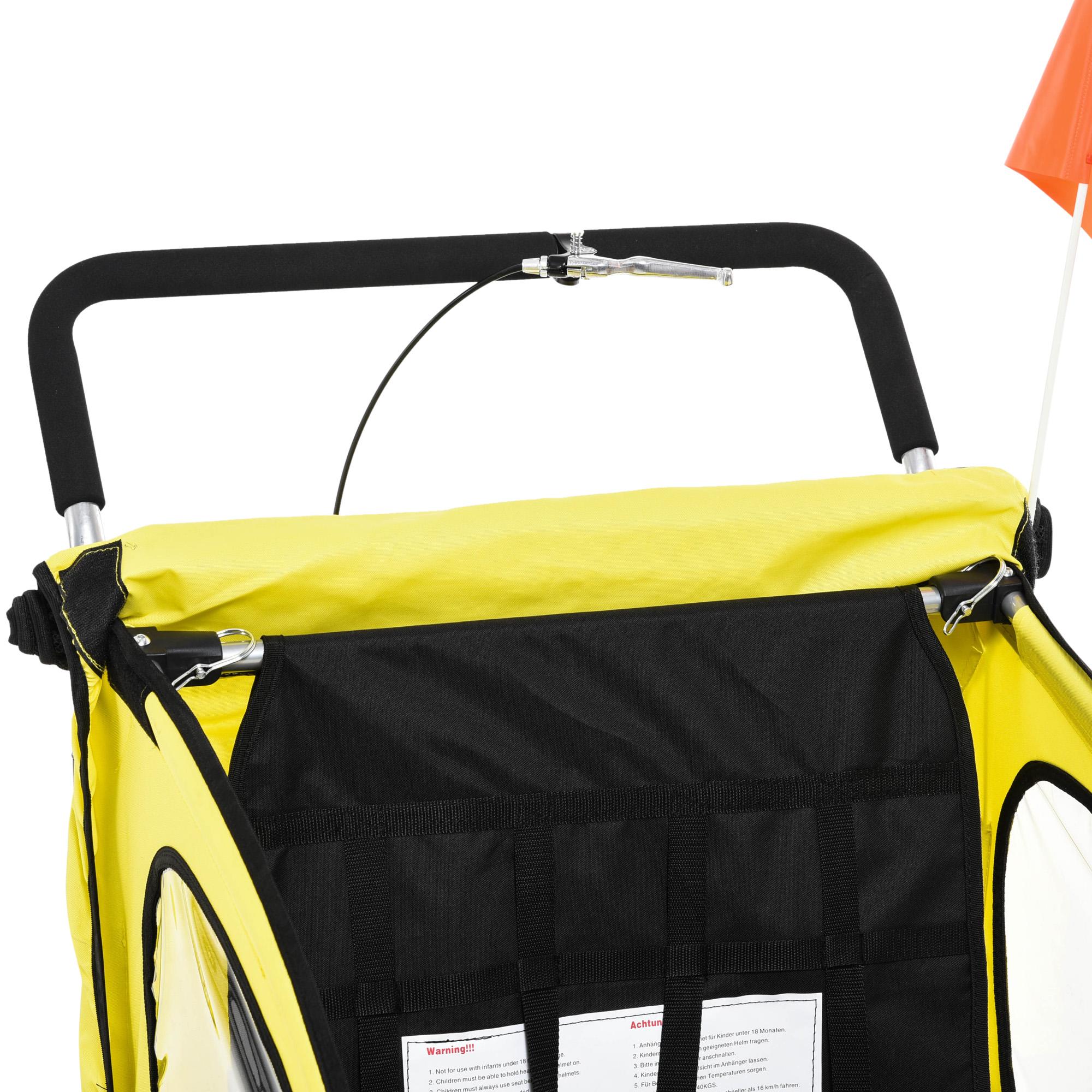 miniatura 7 - Remolque Bicicleta Niño 2 PLAZAS+Amortiguador Kit Footing Freno Bandera Cubierta