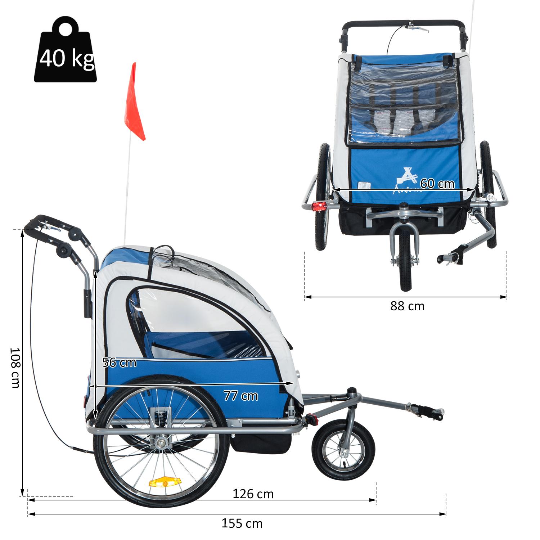 Remolque-Infantil-Bicicleta-2-PLAZAS-Kit-Footing-Rueda-360-Amortiguadores-Barra miniatura 8
