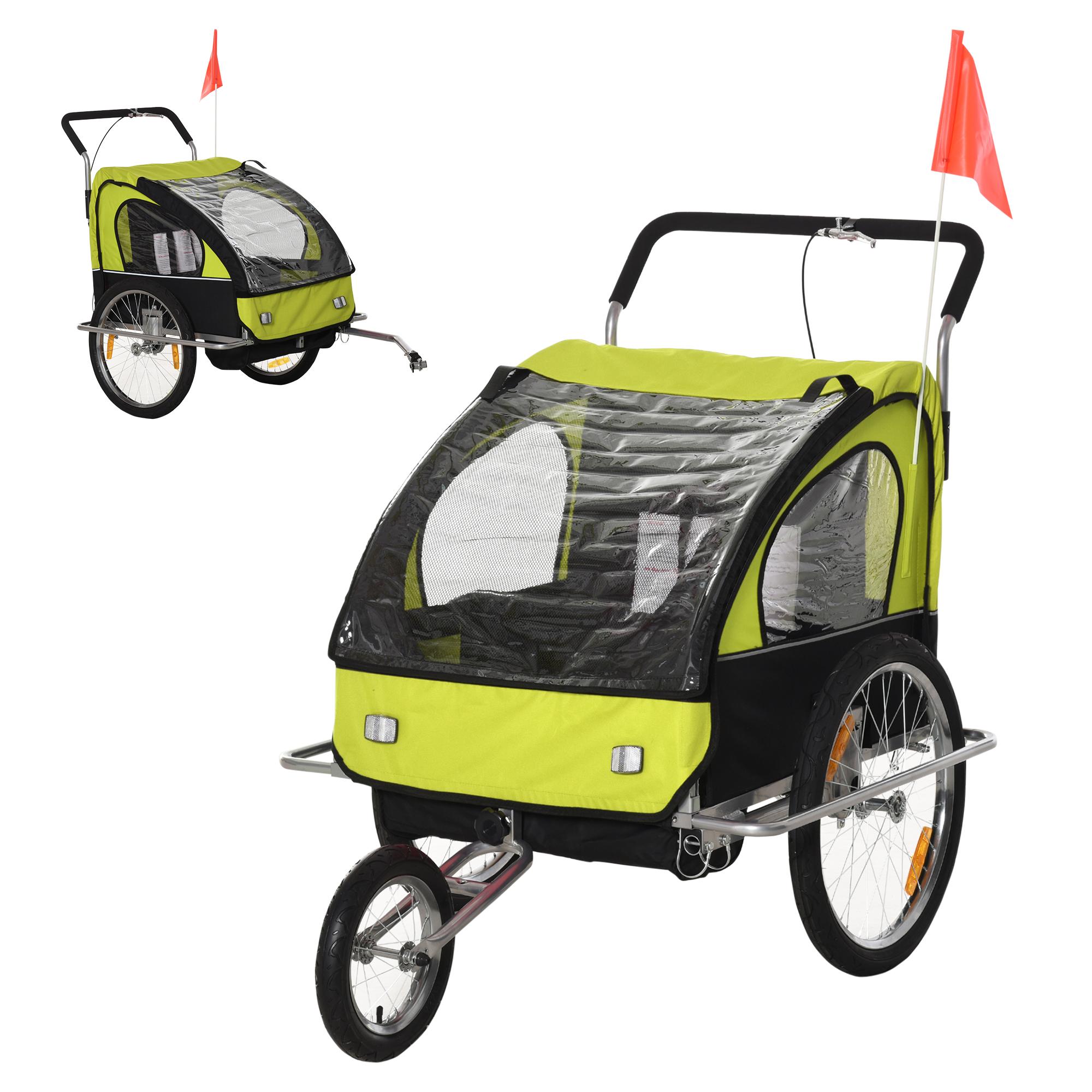 miniatura 41 - Remolque Bicicleta Niño 2 PLAZAS+Amortiguador Kit Footing Freno Bandera Cubierta