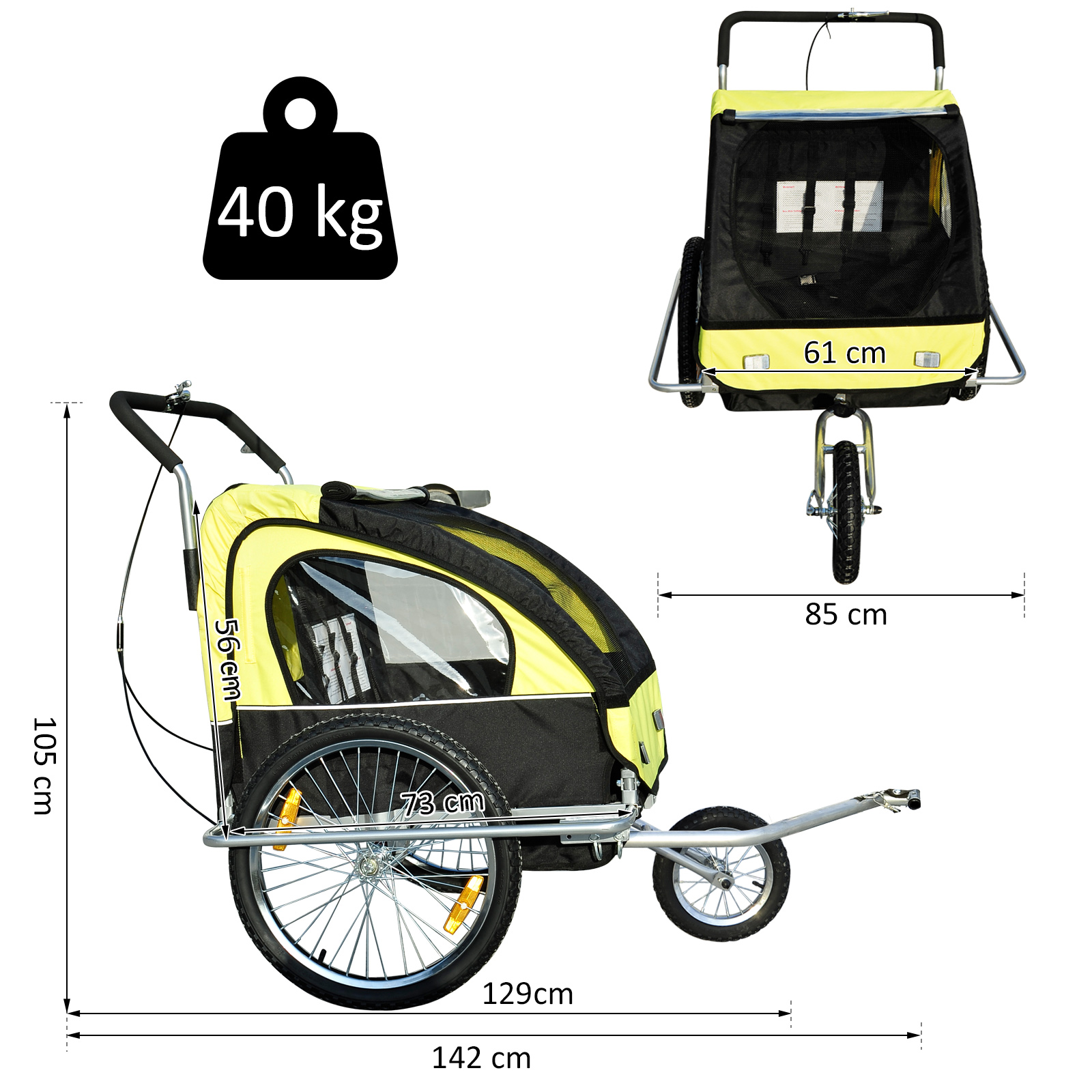 Remolque-Bicicleta-Nino-2-PLAZAS-Amortiguador-Kit-Footing-Freno-Bandera-Cubierta miniatura 10