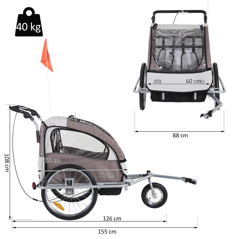 Remolque-Infantil-Bicicleta-2-PLAZAS-Kit-Footing-Rueda-360-Amortiguadores-Barra miniatura 20