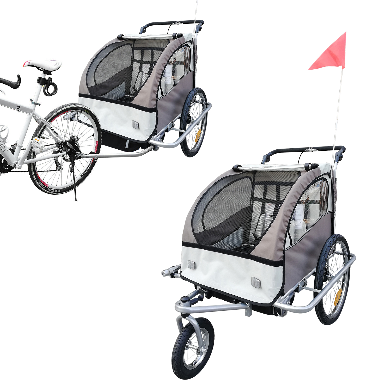 Remolque-Infantil-Bicicleta-2-PLAZAS-Kit-Footing-Rueda-360-Amortiguadores-Barra miniatura 16