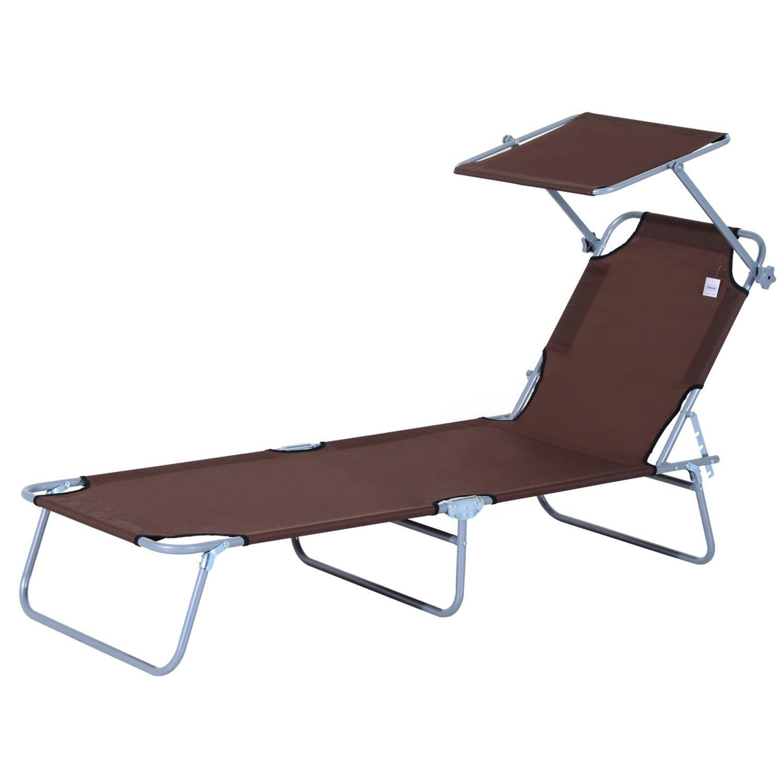 Tumbona-Inclinable-Aluminio-Plegable-Hamaca-Playa-Piscina-con-Parasol-NUEVO miniatura 14