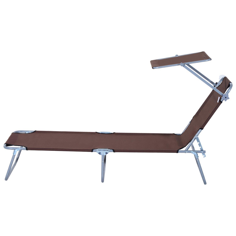 Tumbona-Inclinable-Aluminio-Plegable-Hamaca-Playa-Piscina-con-Parasol-NUEVO miniatura 22