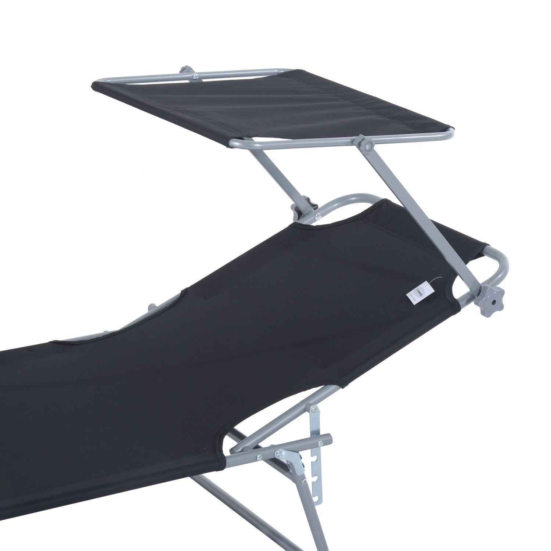 Tumbona-Inclinable-Aluminio-Plegable-Hamaca-Playa-Piscina-con-Parasol-NUEVO miniatura 25
