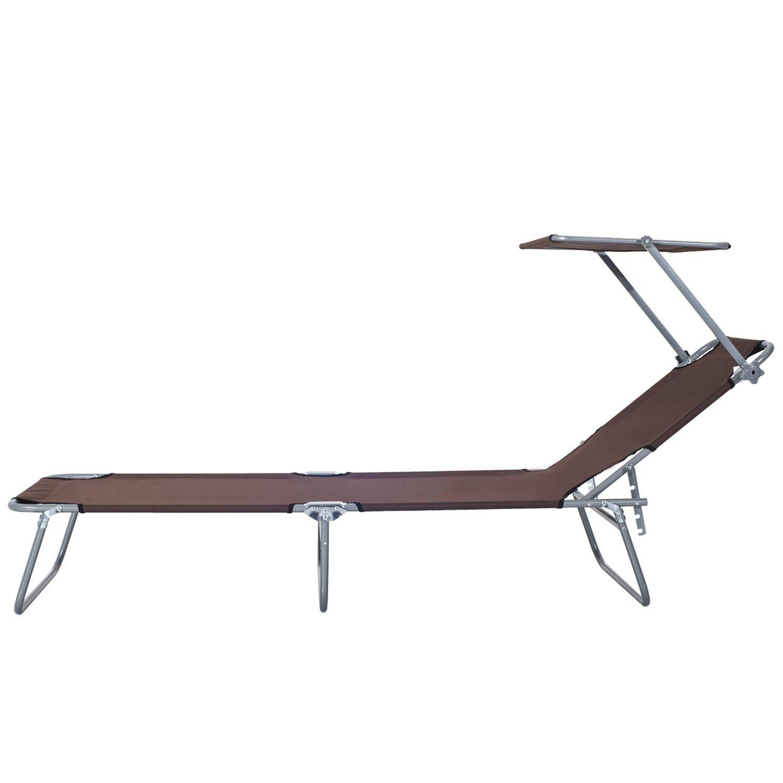 Tumbona-Inclinable-Aluminio-Plegable-Hamaca-Playa-Piscina-con-Parasol-NUEVO miniatura 15