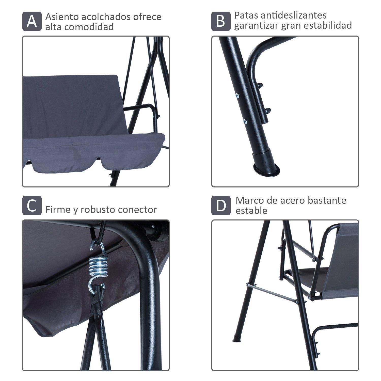 Columpio-de-Jardin-tipo-Balancin-de-Metal-3-Plazas-con-Cojin-y-Toldo-Regulable miniatura 6